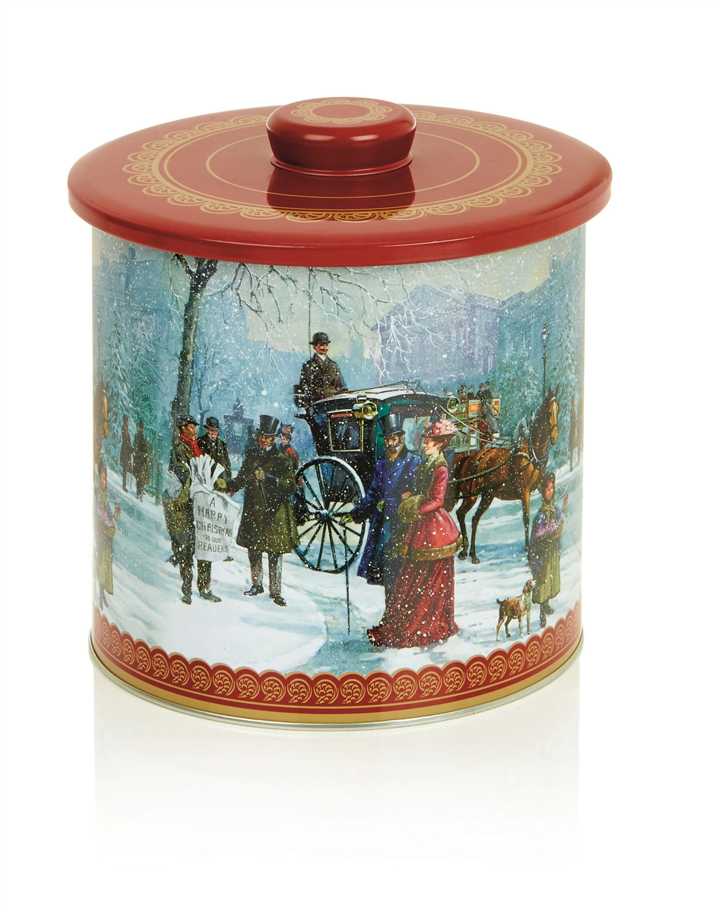 Round Christmas Biscuit Barrel Storage Cake Tin Container Cookie ...