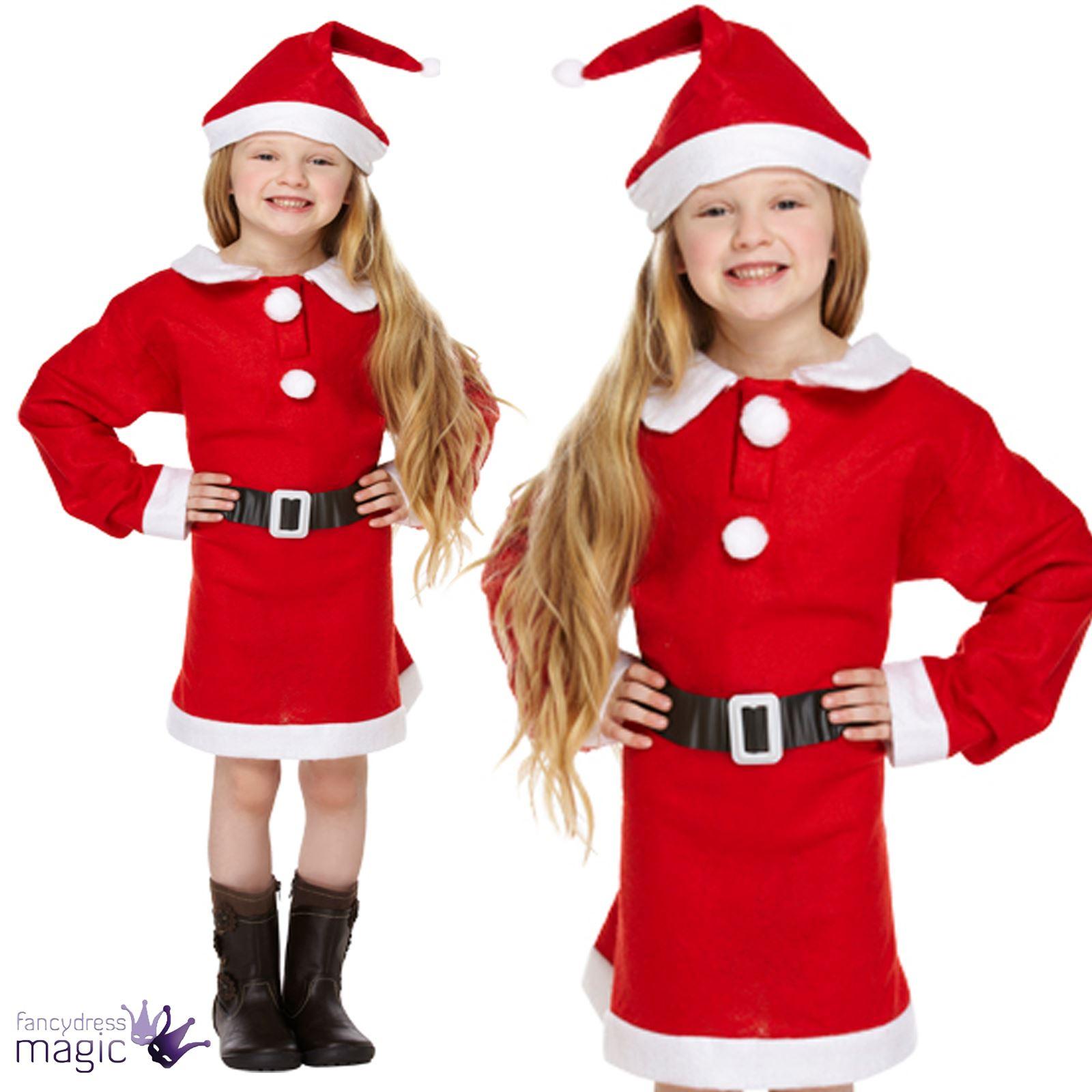Girls father christmas santa mrs claus kids fancy dress