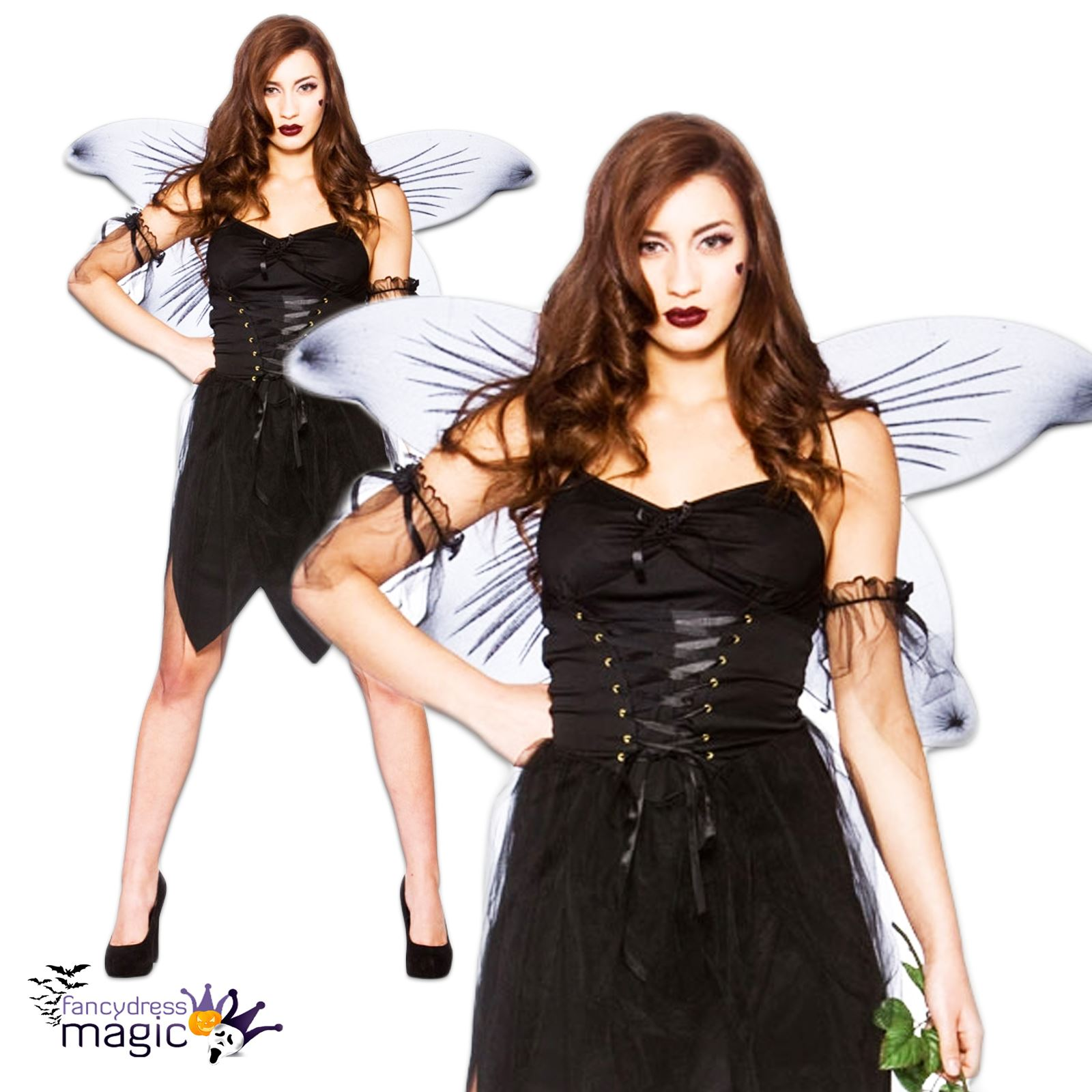 ladies bad fairy fallen angel wings fancy dress costume halloween