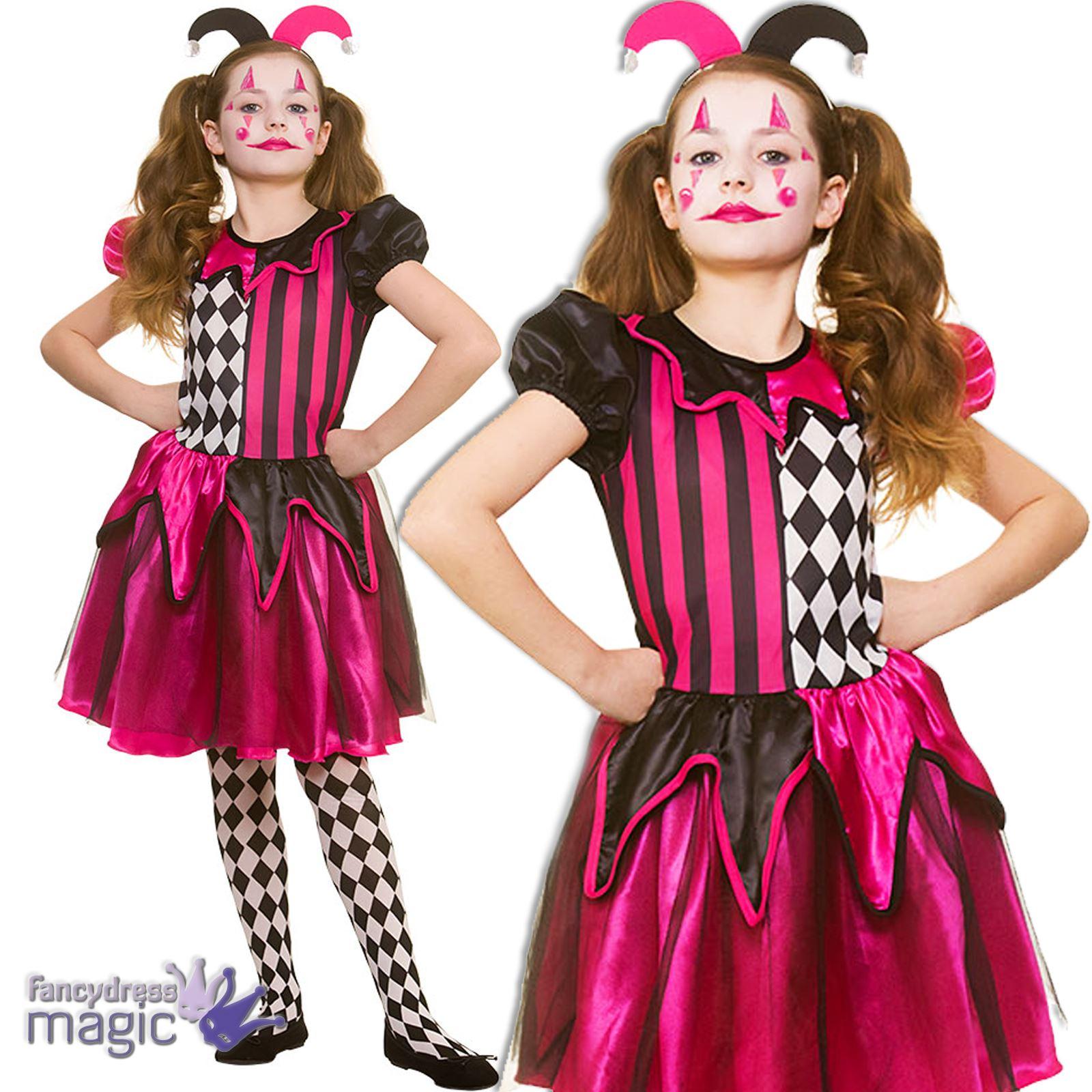 Niñas niños Halloween bufón Freaky Arlequín payaso disfraz + sombrero 7849cf4d657