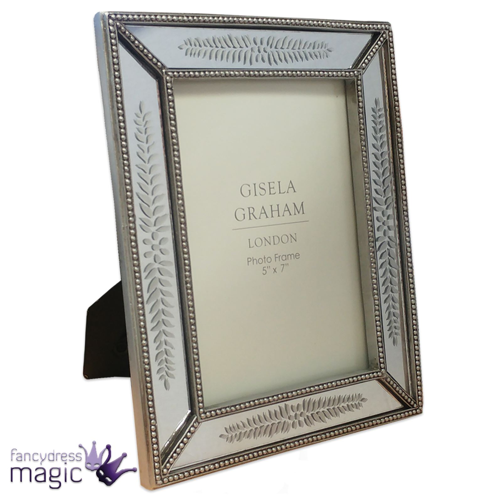 Gisela Graham Etched Leaf Mirrored Silver Photograph Picture Frame ...
