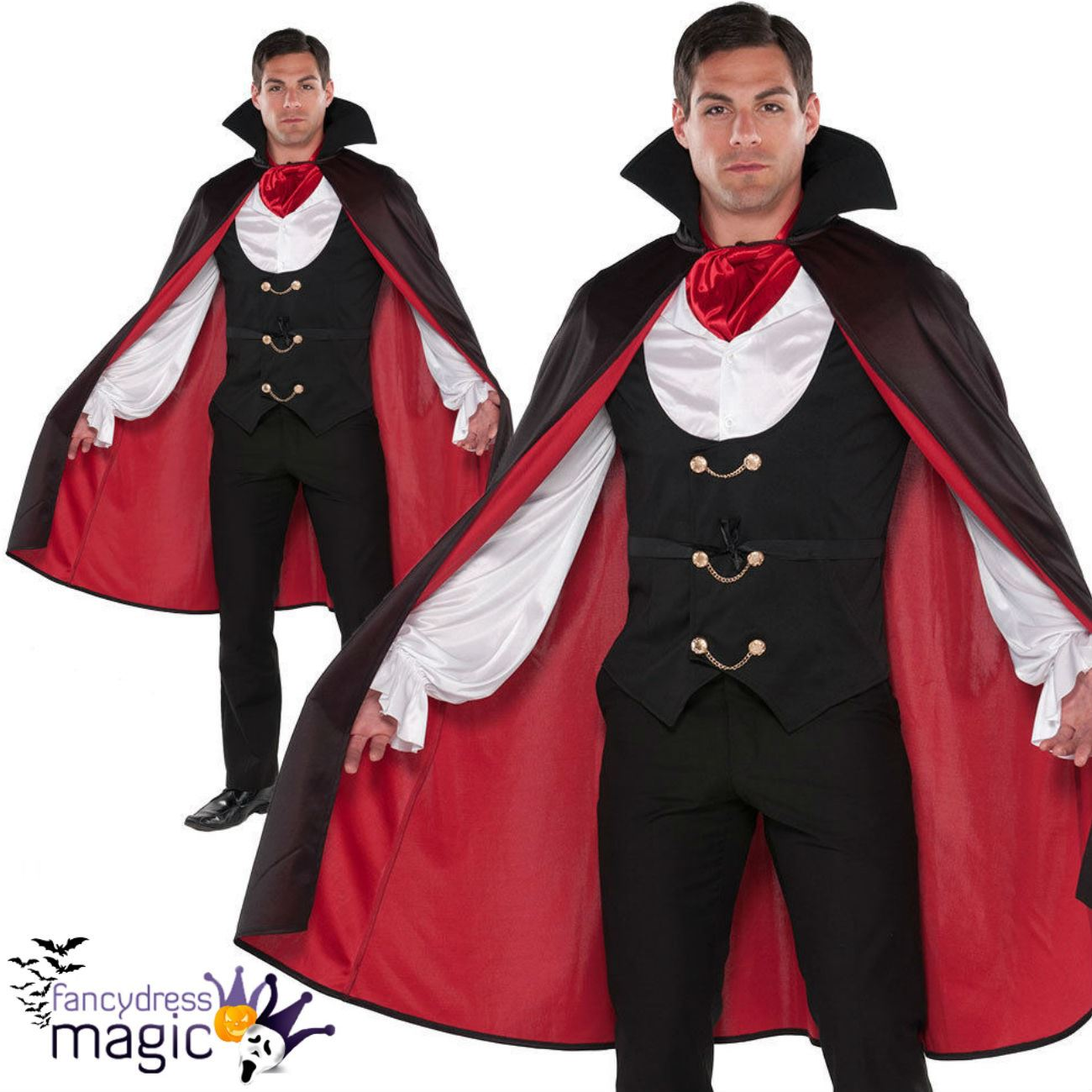 Adult Mens True V&ire Costume Count Dracula Fancy Dress Halloween Outfit Cape  sc 1 st  eBay & Adult Mens True Vampire Costume Count Dracula Fancy Dress Halloween ...