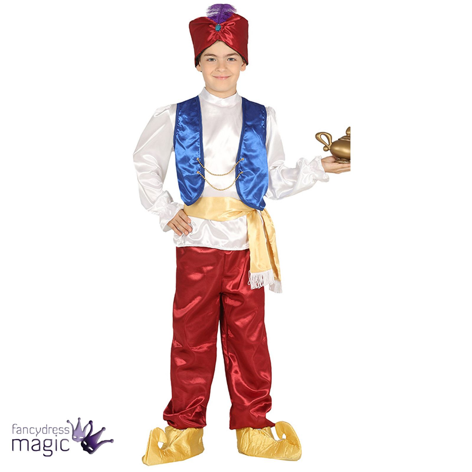 Boys Arabian Prince Genie Fancy Dress Costume Outfit Aladdin Thief ... for aladdin characters costumes  177nar