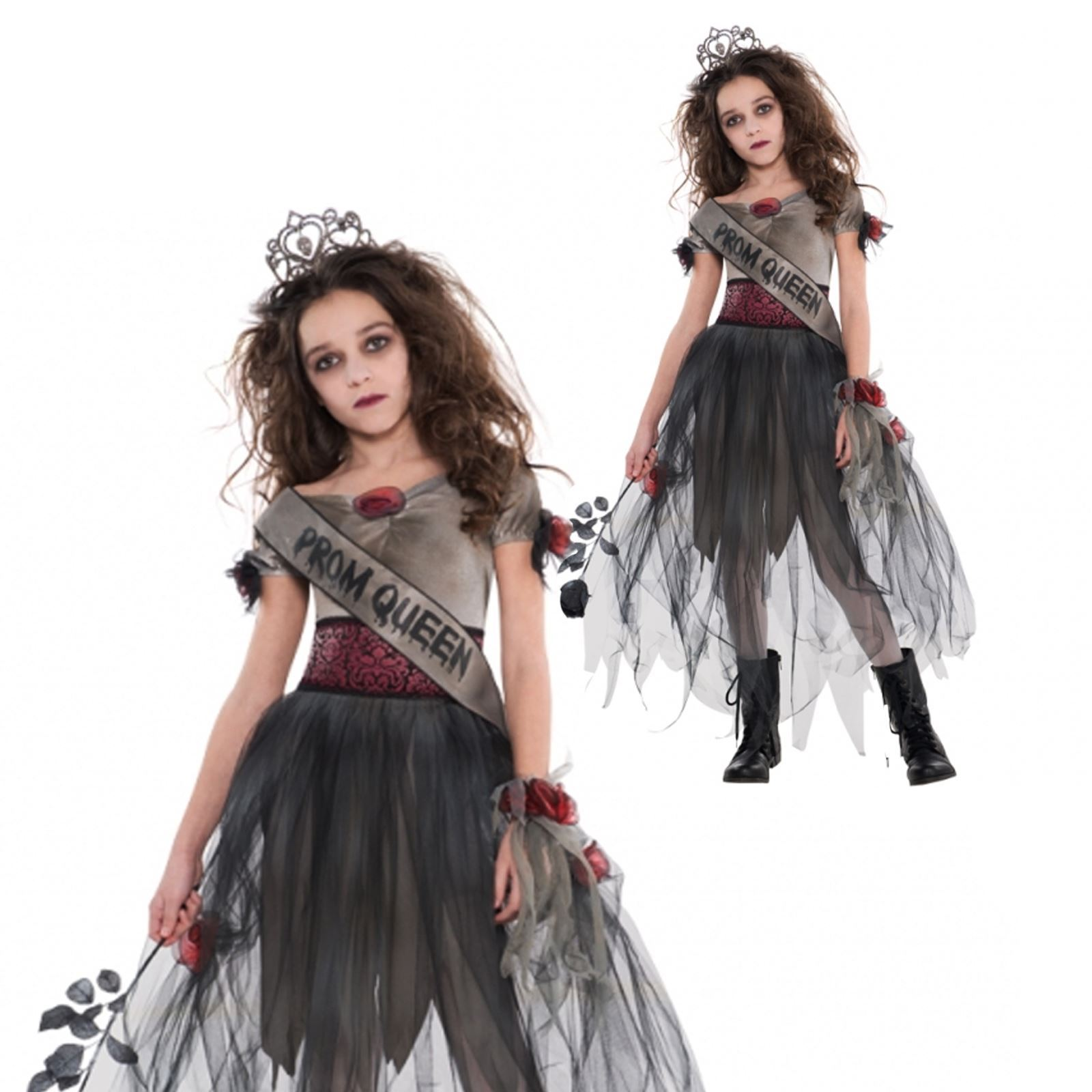 m dchen teenager kinder zombie prom queen halloween zombie kost m kleid outfit ebay. Black Bedroom Furniture Sets. Home Design Ideas
