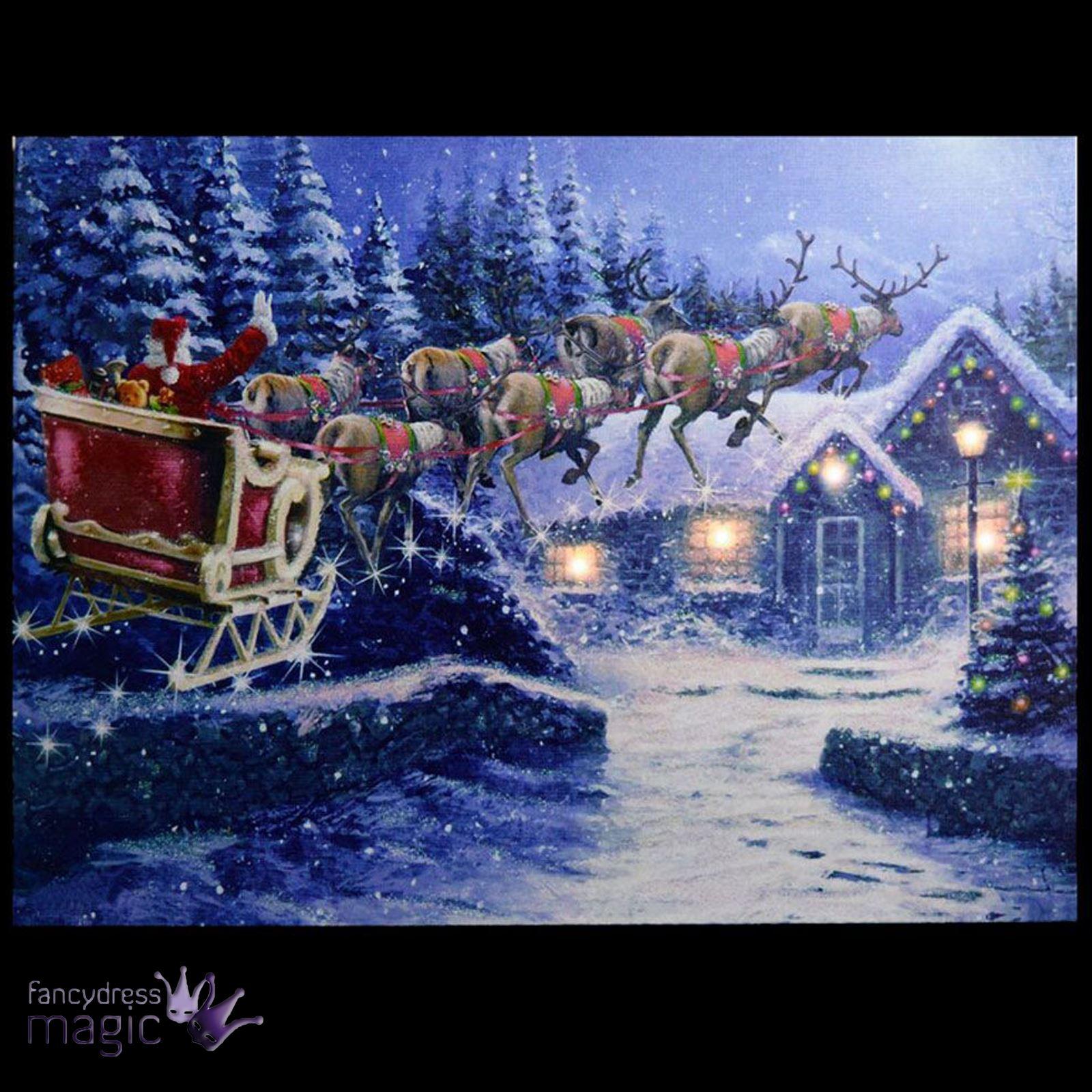 LED Aufleuchtend Wandbehang Leinen Bilder Weihnachten Szene Heim ...