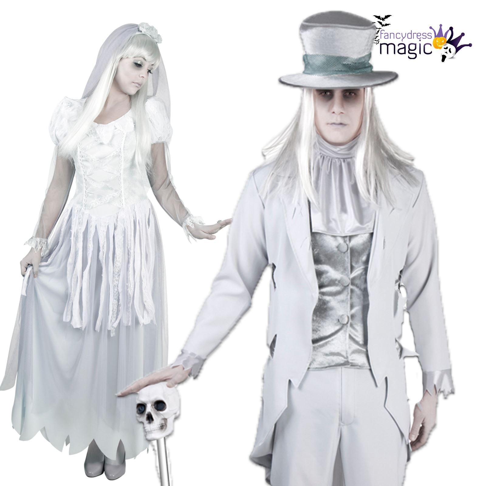 Ladies Mens Couples Halloween White Ghost Bride Groom Fancy Dress Costume Outfit  sc 1 st  eBay & Ladies Mens Couples Halloween White Ghost Bride Groom Fancy Dress ...