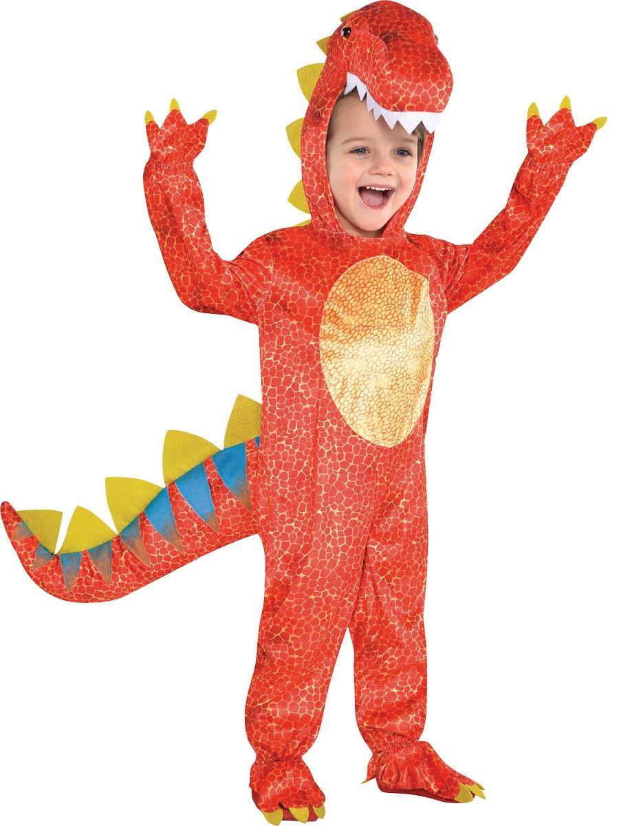 childs kids t rex halloween red dinomite dinosaur fancy dress