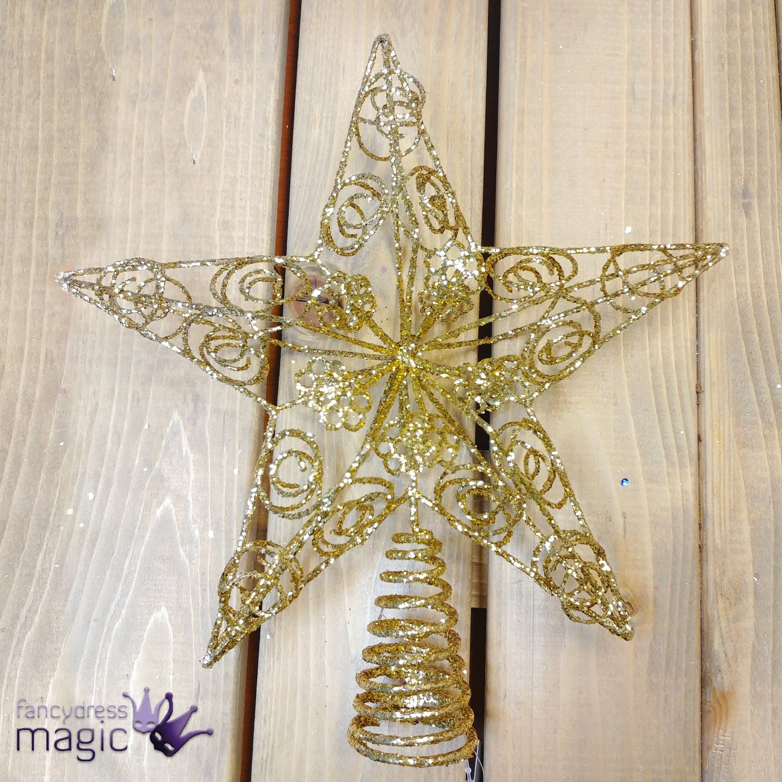 Gisela Graham Christmas Tree Topper: Gisela Graham Large Glitter Gold Wire Star Christmas Tree