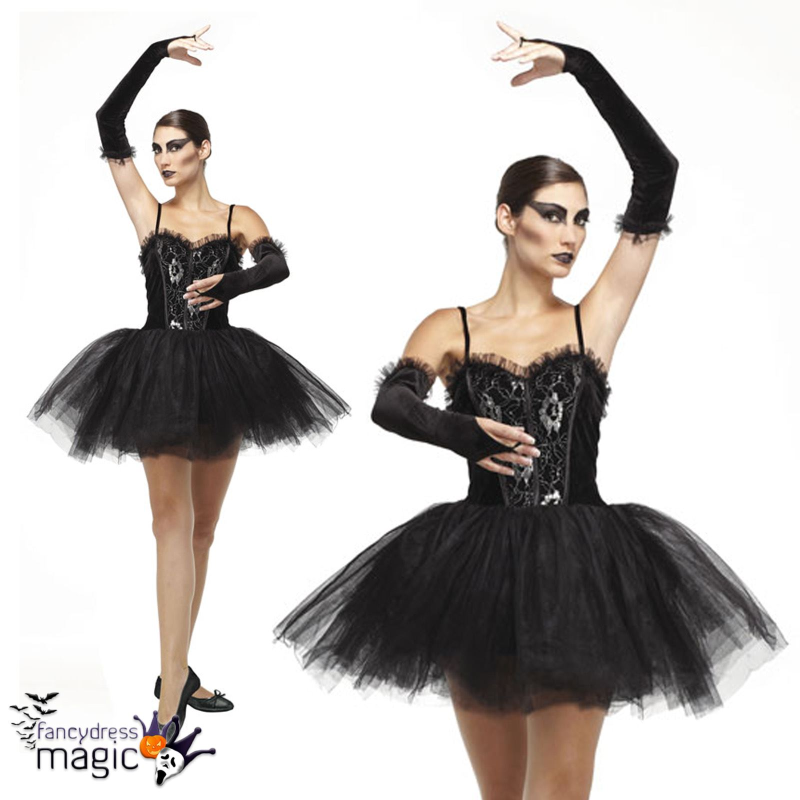 Gothic Adults Ladies Ballerina Black Swan Tutu Fallen