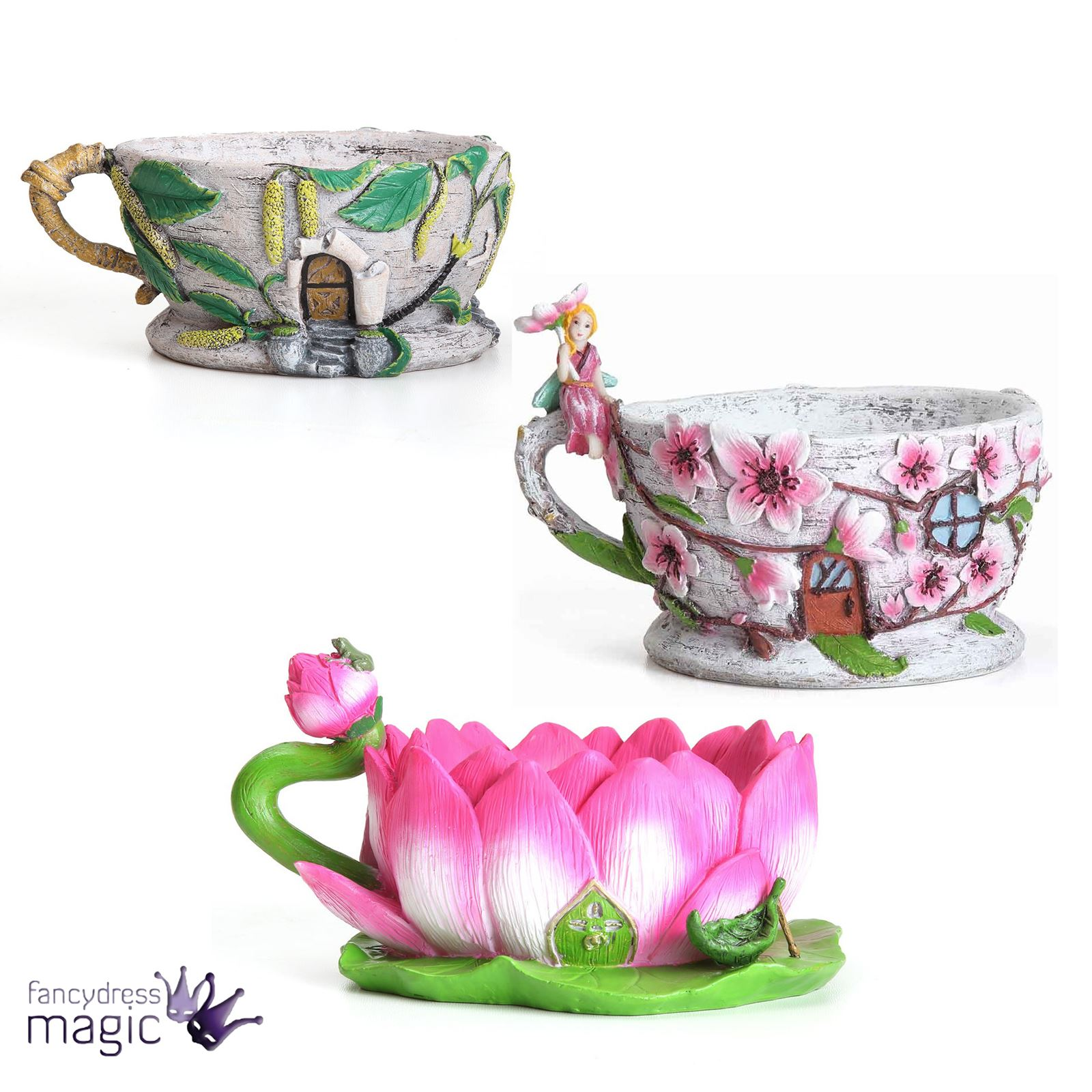 Fiddlehead Fairy Tea Cup Mug Planter Cherry Blossom Lotus Flower