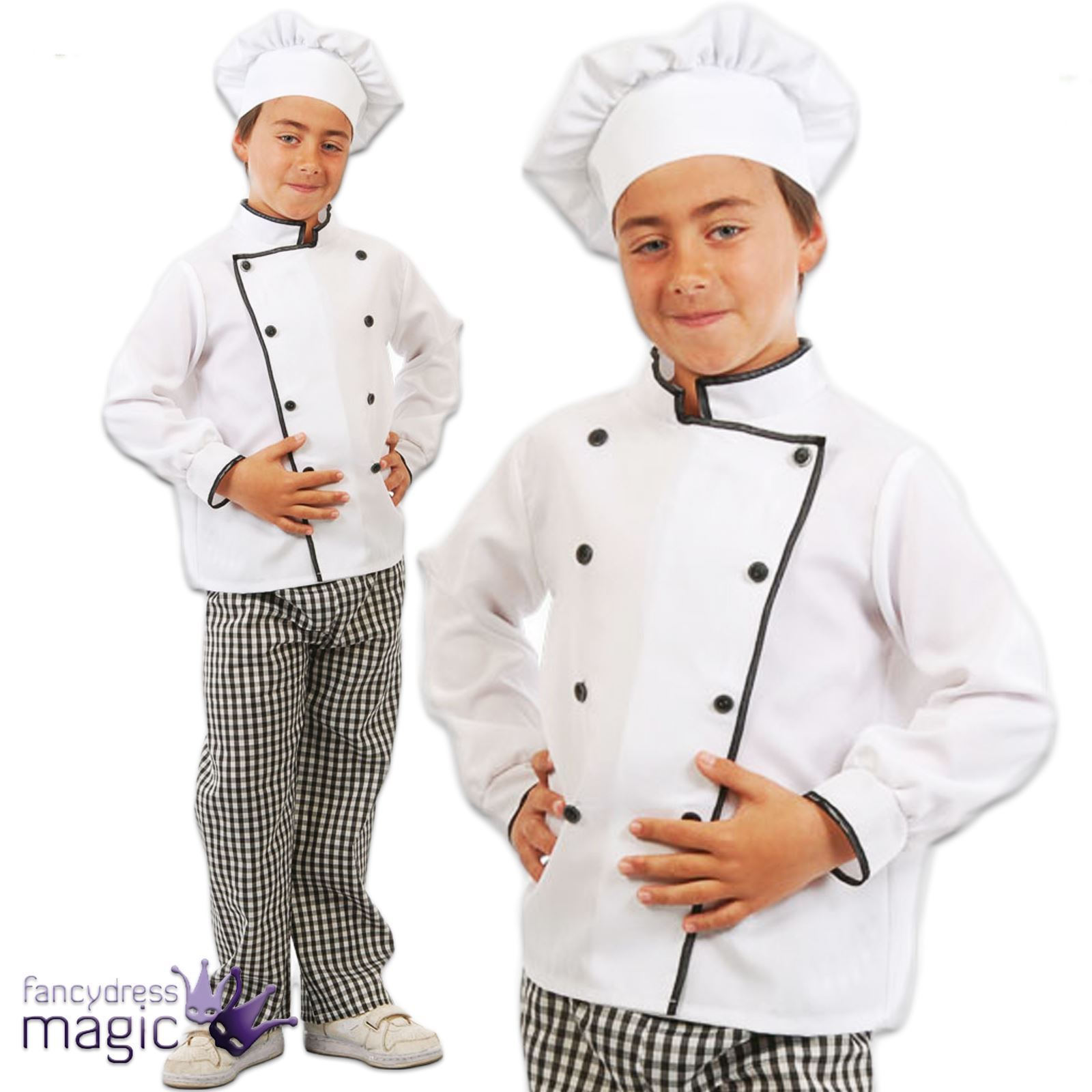 CHILDRENS GIRLS BOYS KIDS CHEF CHEFS COOK COSTUME OUTFIT WHITES HAT