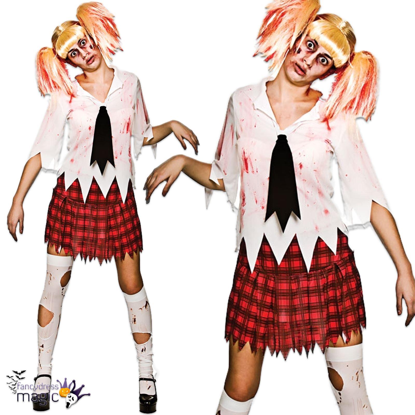 Damen Erwachsene Halloween Zombie Schulmadchen Student Gore Horror
