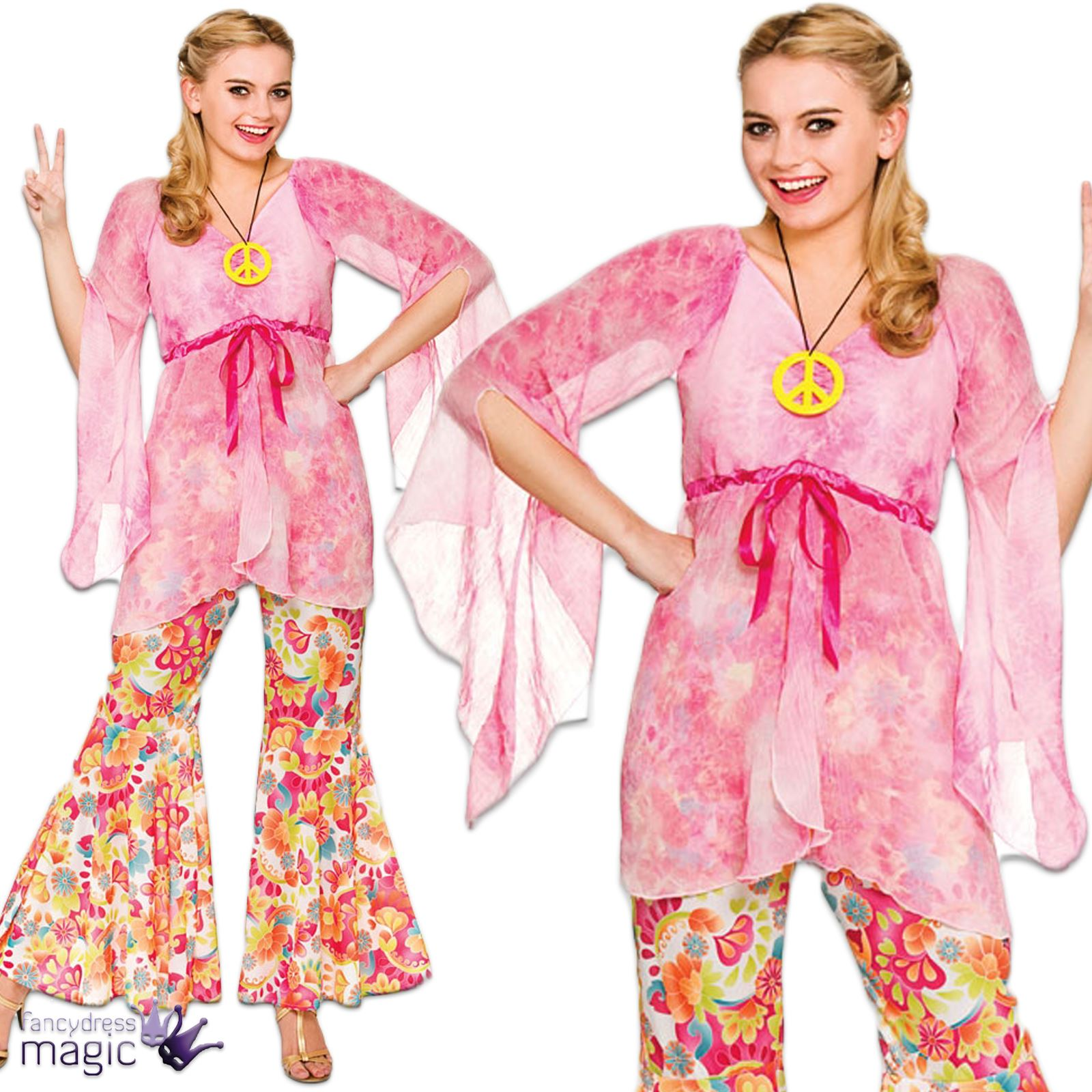Womens-Ladies-60s-70s-Retro-Groovy-Flare-Hippie-Hippy-Fancy-Dress-Costume-Outfit