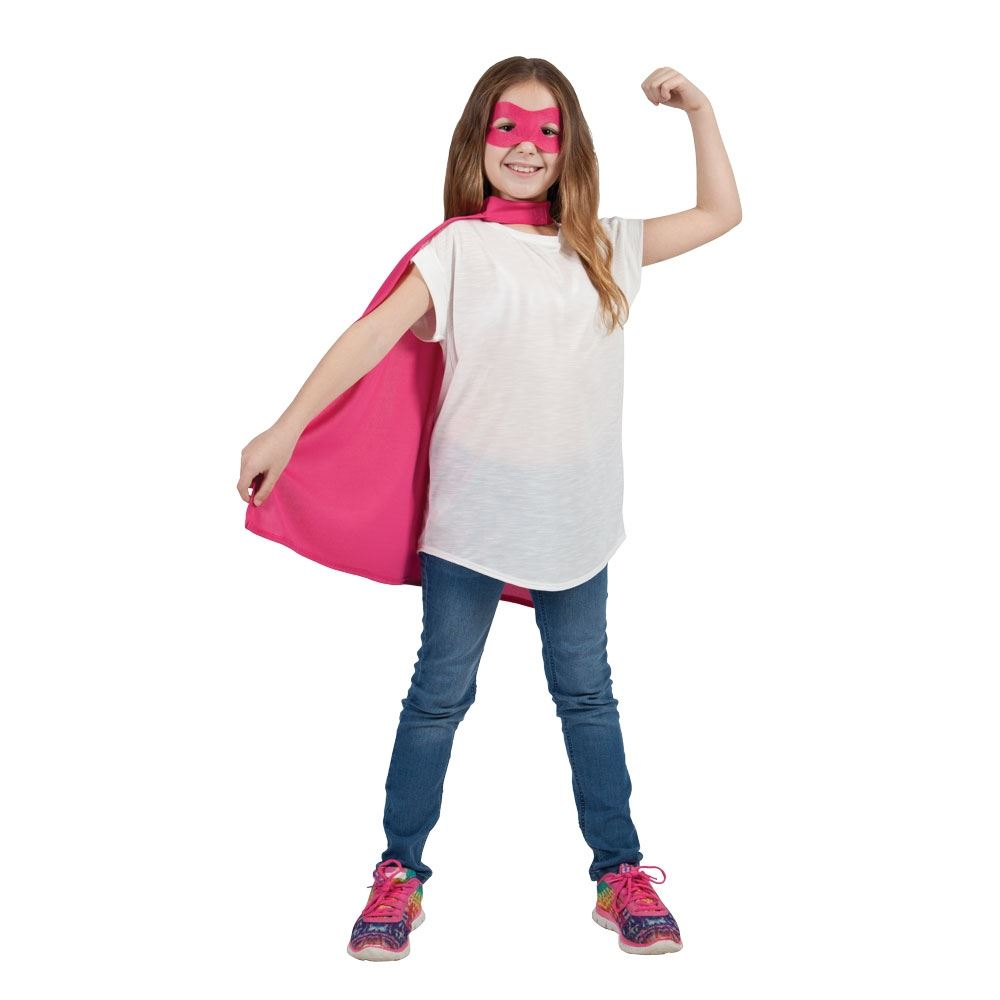pink kids super hero short cape with mask boys girls childs fancy