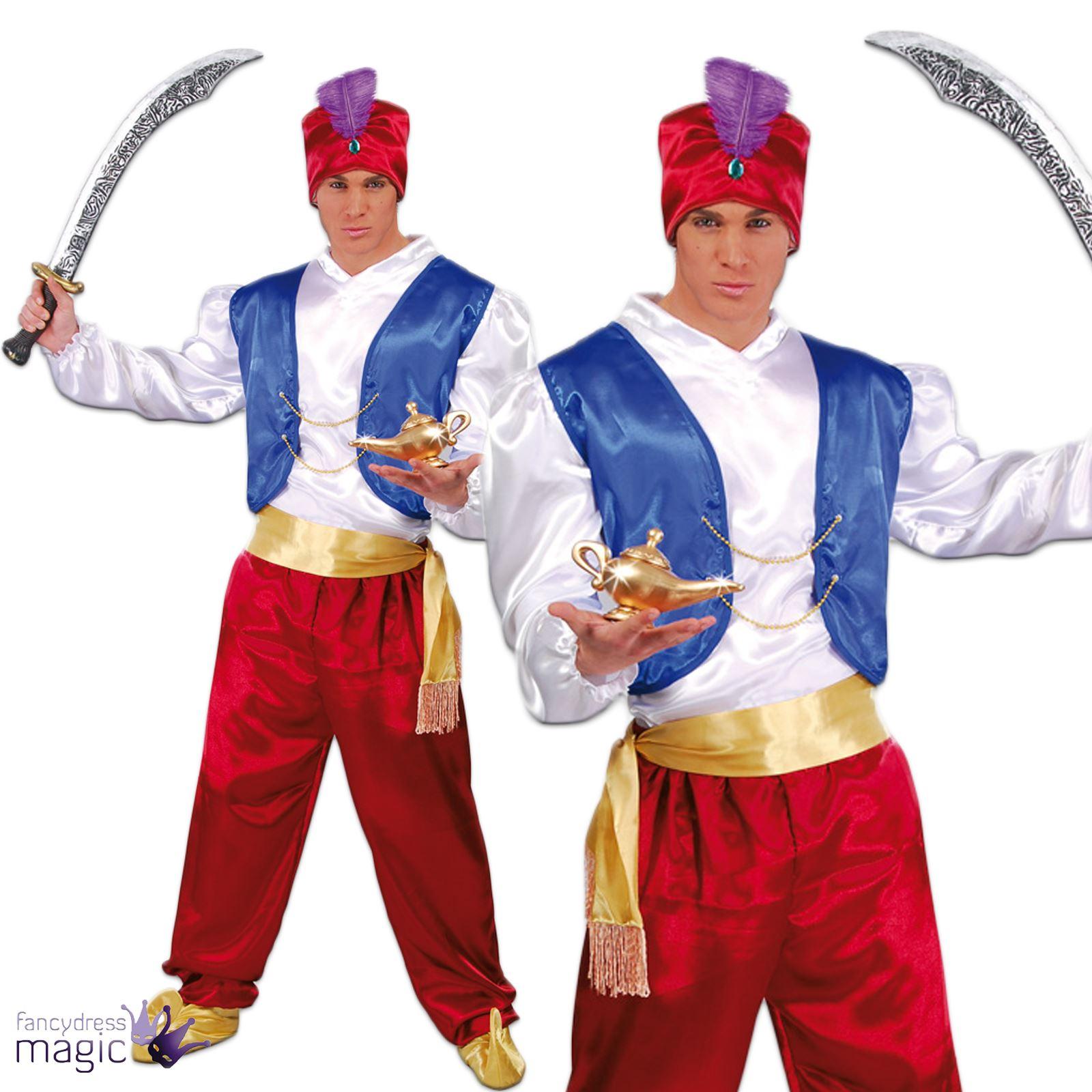 Adult Genie Ali Baba Aladdin Bollywood Arabian Panto Fancy Dress Costume Outfit  sc 1 st  eBay & Adult Genie Ali Baba Aladdin Bollywood Arabian Panto Fancy Dress ...