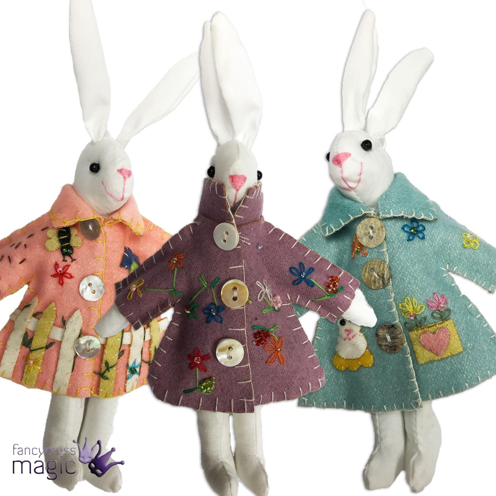 Gisela graham applique easter bunny rabbit in raincoat for Rabbit decorations home