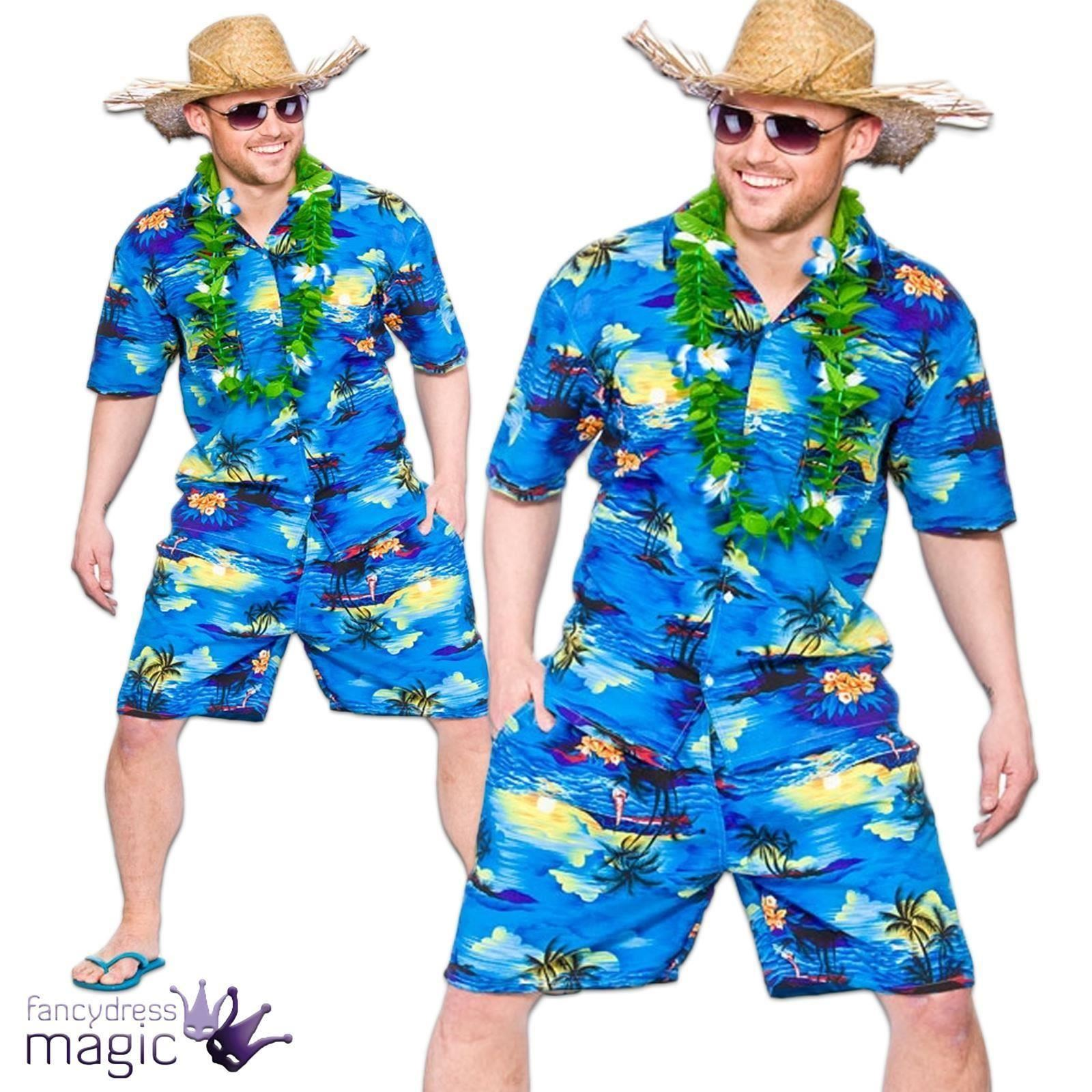 Hawaiian Party Guy Fancy Dress Costume Shirt Shorts Straw Hat Mens ...