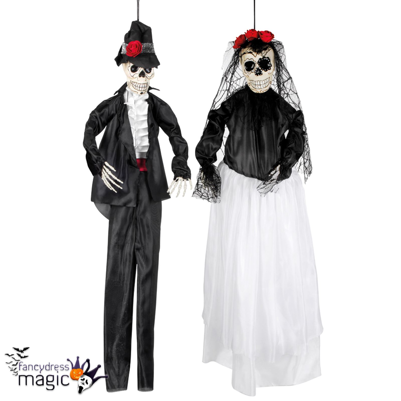 Halloween Mexican Day Of The Dead Hanging Skeleton Bride & Groom ...