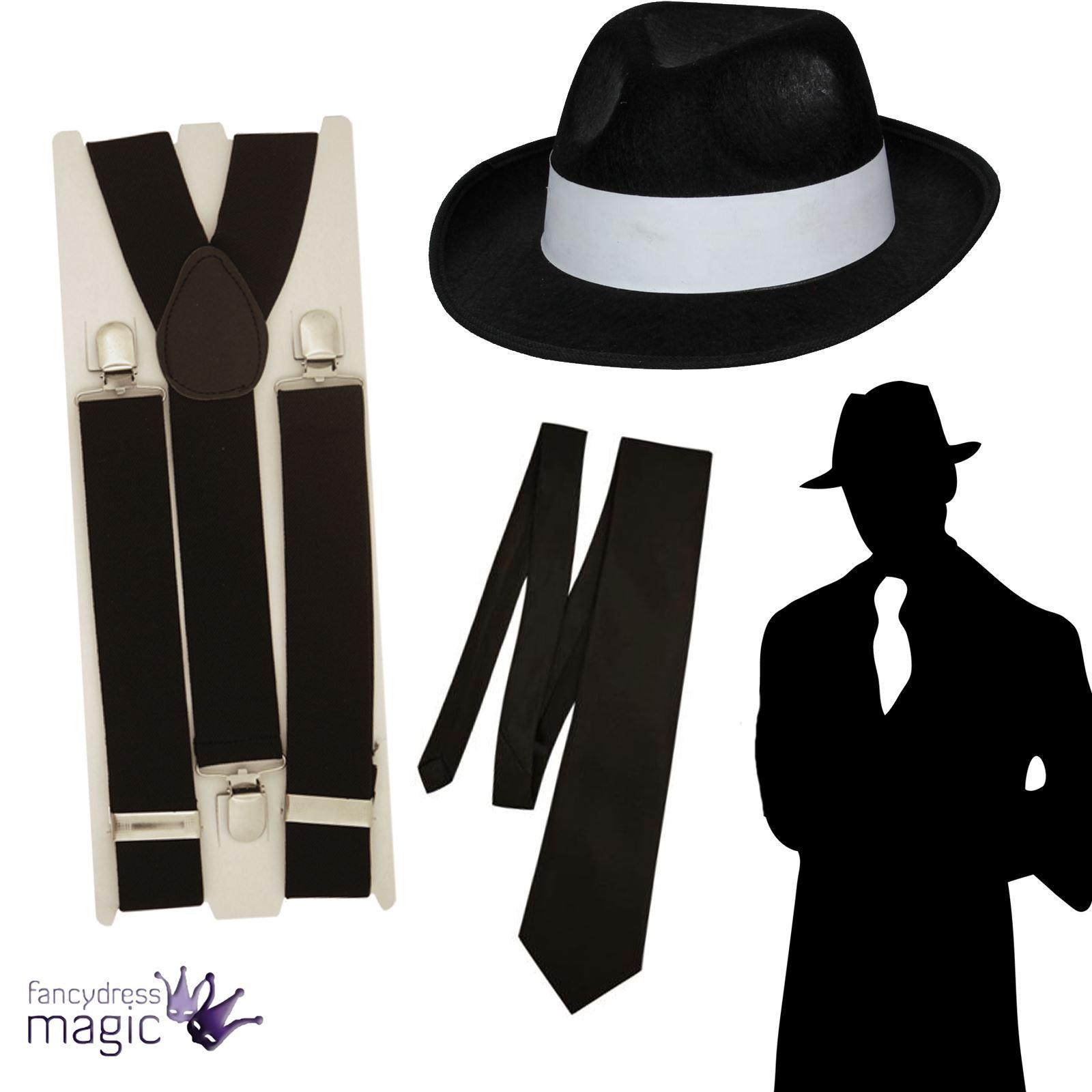 modèles à la mode style à la mode en stock Gangster Chapeau Bretelles Cravate Bugsy Spiv 20 S Capone ...