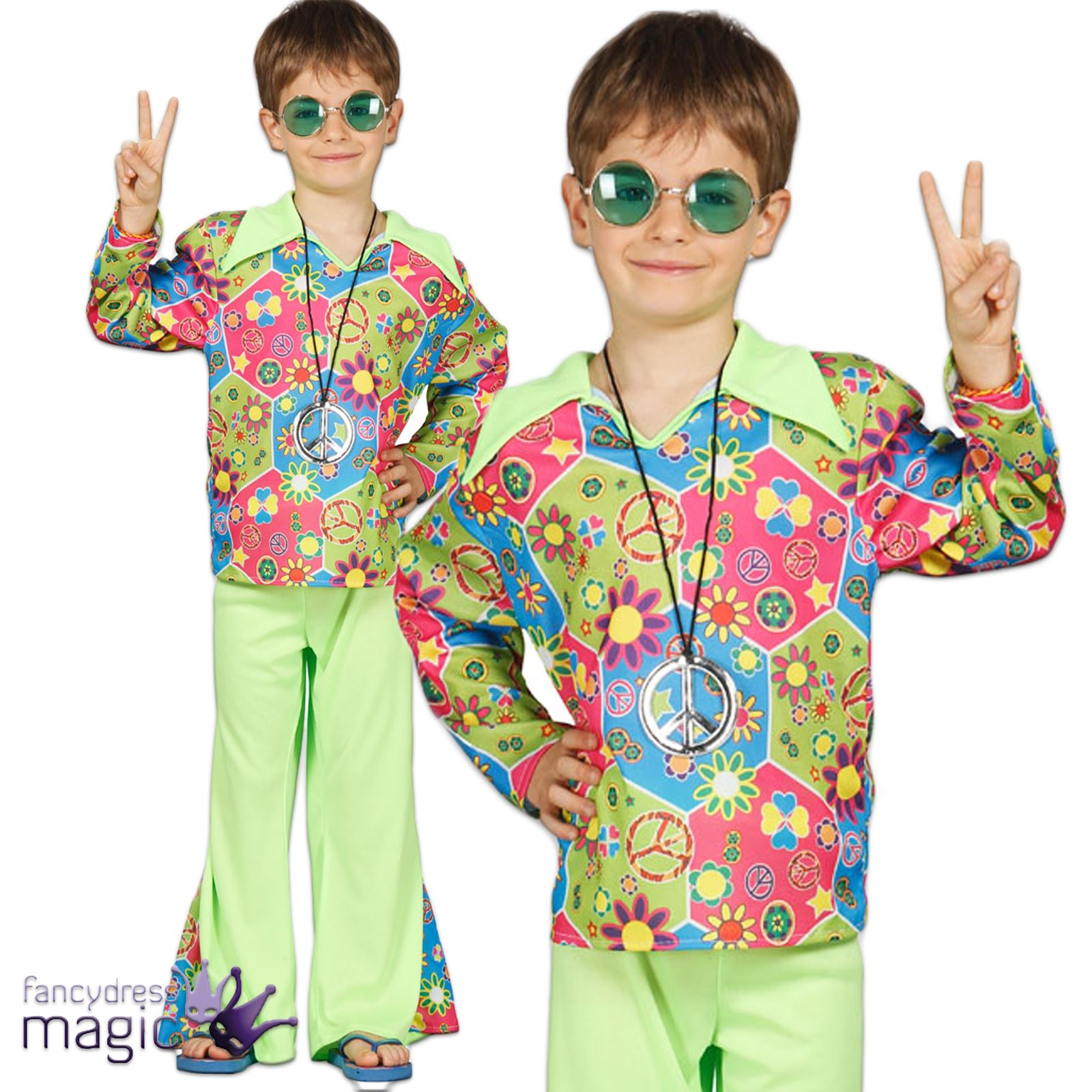 Childs Boys Hippie Hippy 60s 70s Flower Power Peace Fancy Dress Costume Outfit | EBay