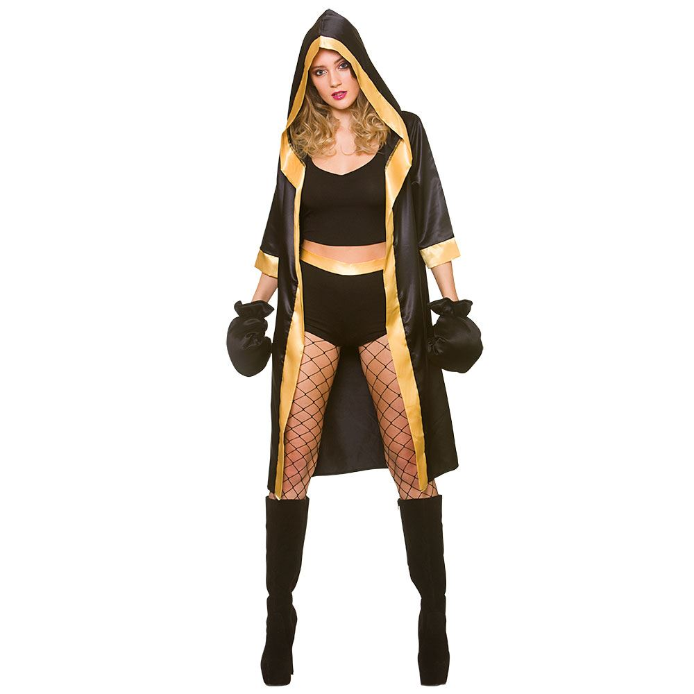 Boxeador de nocaut las señoras traje de traje de vestido de lujo atractivo  campeón + Guantes de boxeo 5d98a57d2b1