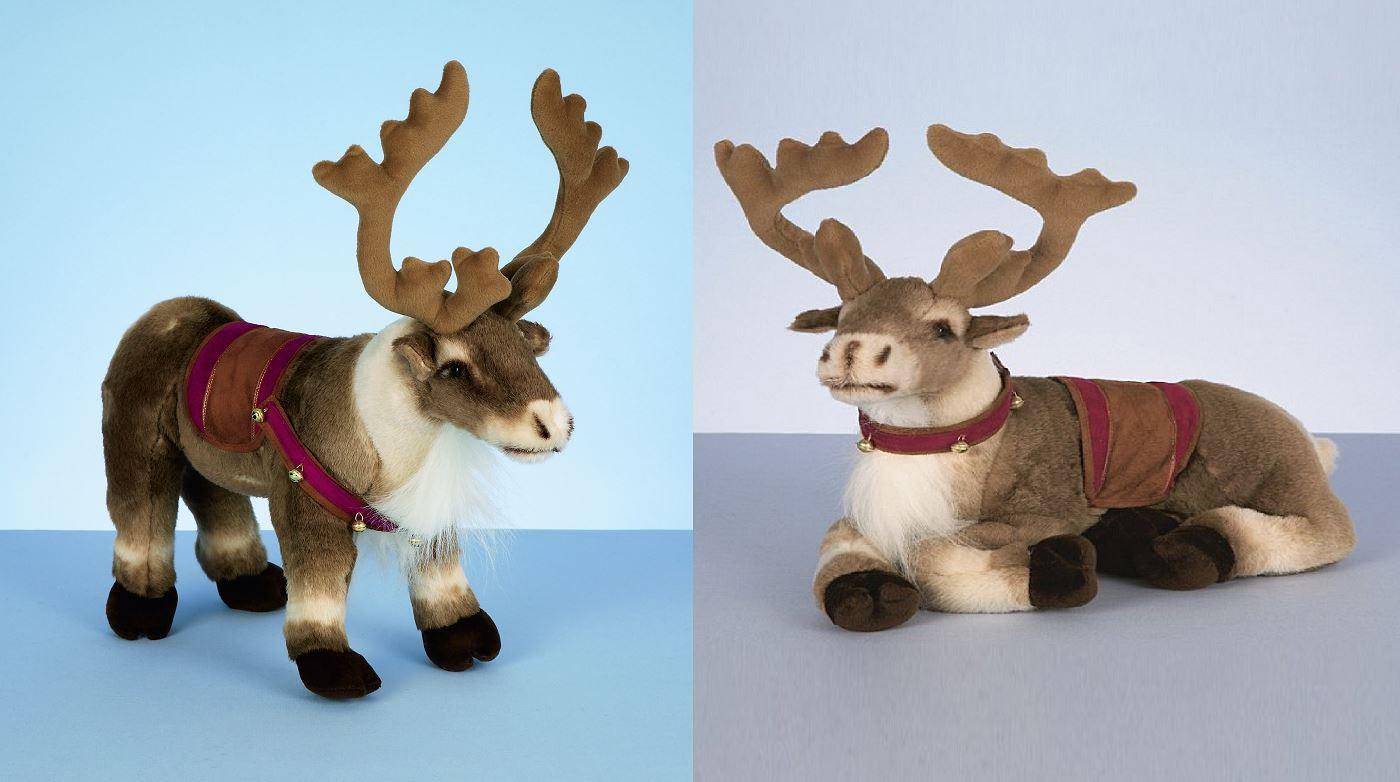 40cm standing lying reindeer with saddle harness plush