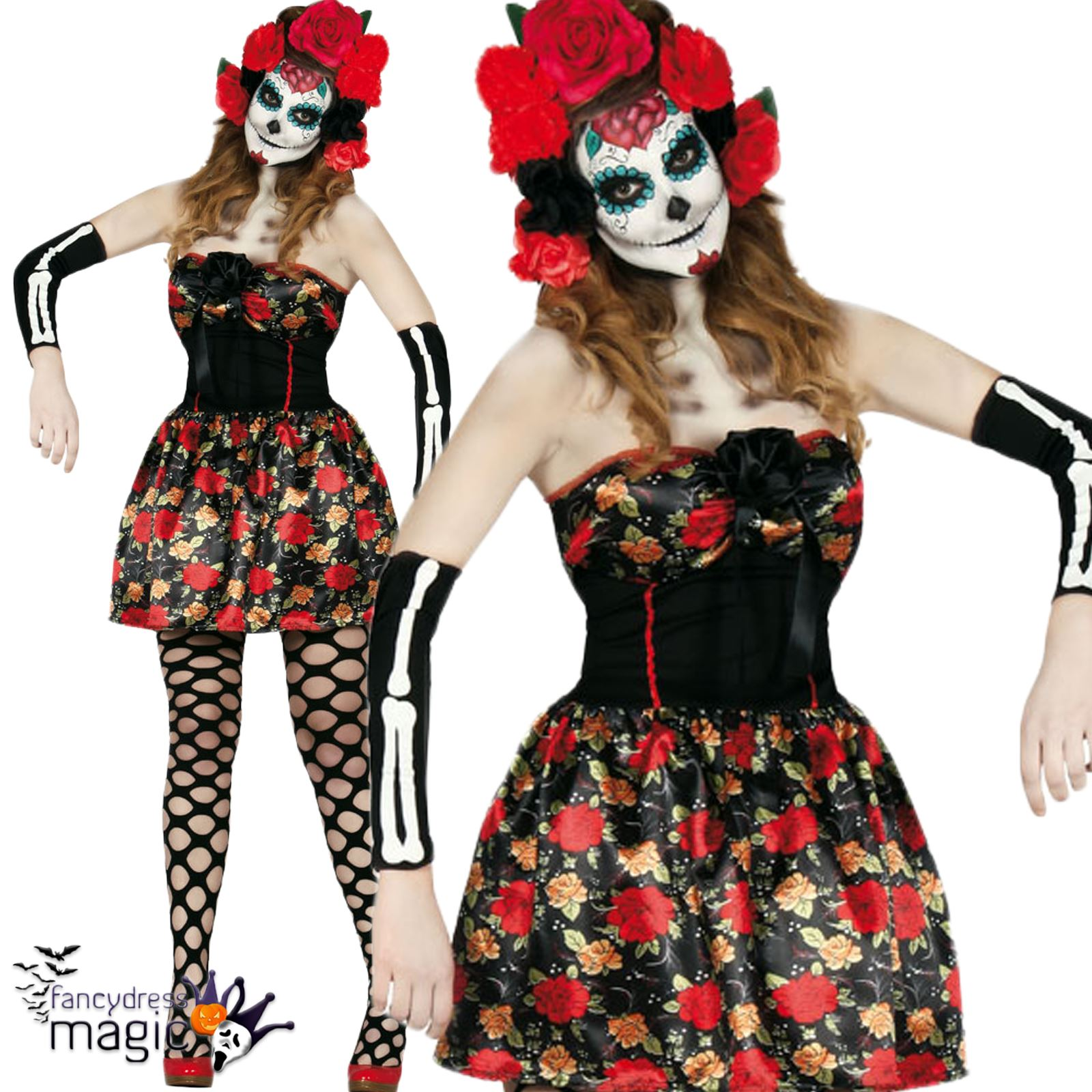 Ladies Lady Death Sugar Skull Day Of The Dead Halloween Sexy Fancy Dress Costume  sc 1 st  eBay & Ladies Lady Death Sugar Skull Day Of The Dead Halloween Sexy Fancy ...