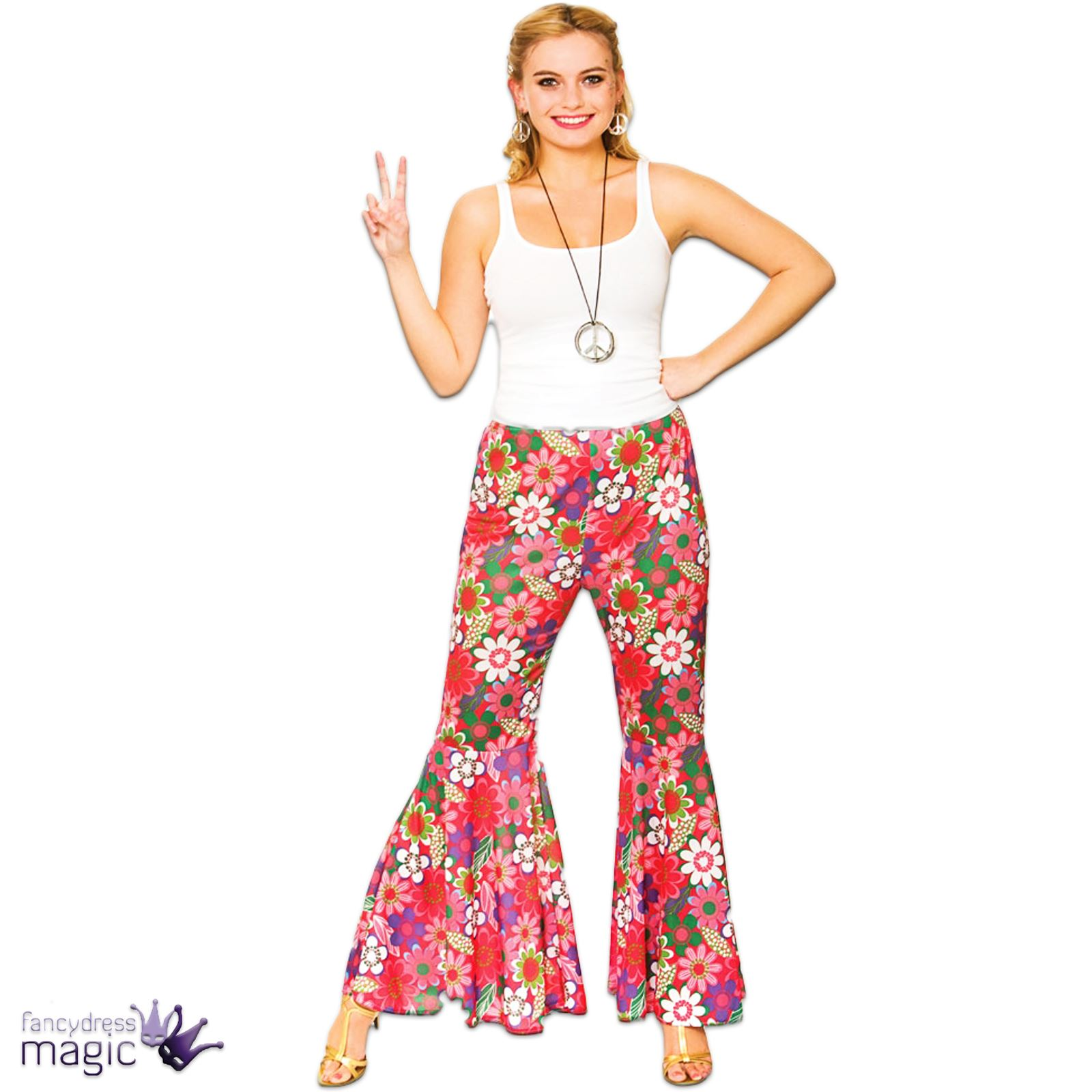 Adults Ladies Flared Flares Hippy 1960s 60s Trousers Pants Fancy Dress Outfit