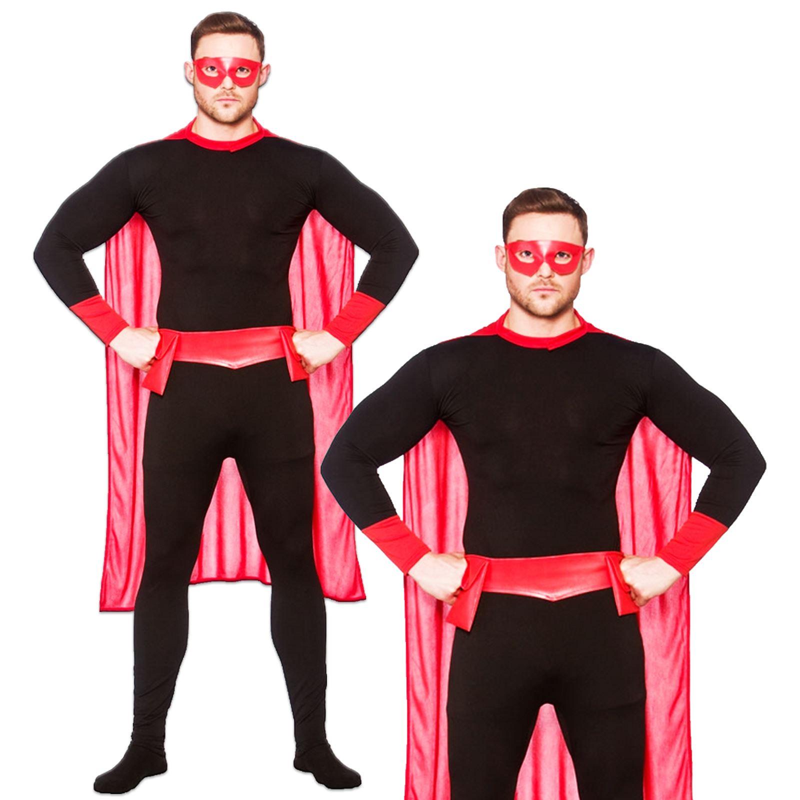 erwachsene herren damen super hero superheld umhang maske g rtel anzug ebay. Black Bedroom Furniture Sets. Home Design Ideas