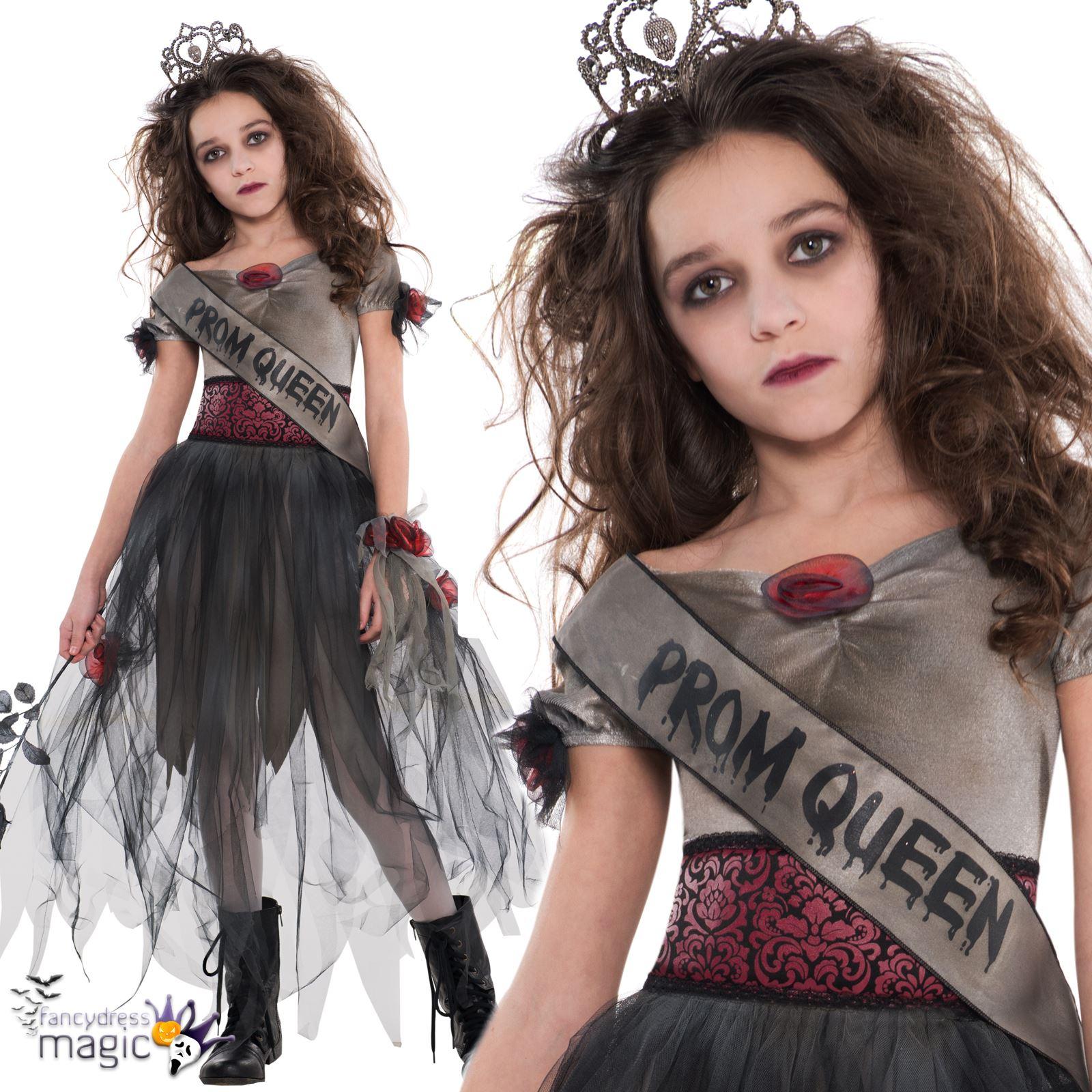 Mädchen Teenager Kinder Zombie Prom Queen Halloween Zombie Kostüm ...