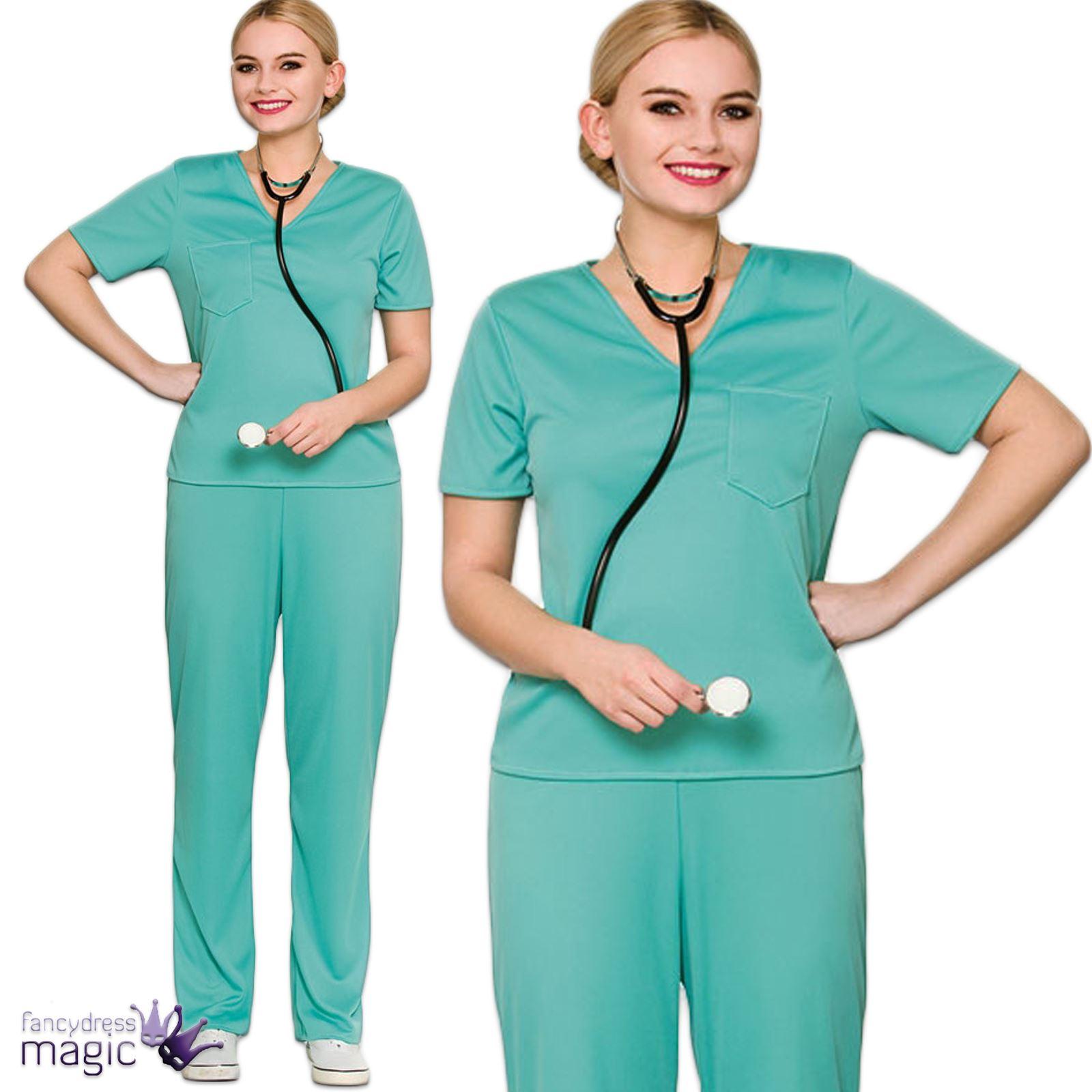 85fad049e82 Ladies Adults ER Scrubs Doctor Surgeon Hospital Nurse Fancy Dress Costume  Outfit Sc 1 St EBay