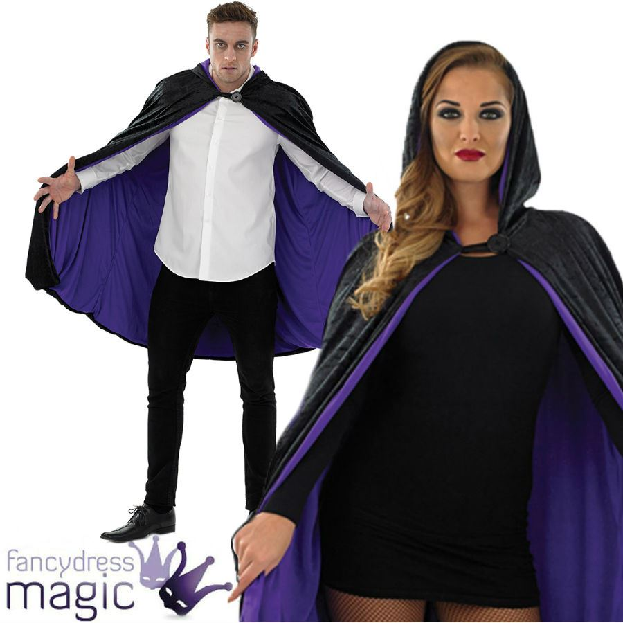 hombre mujer terciopelo corto capucha lila Halloween Capa Vampiro