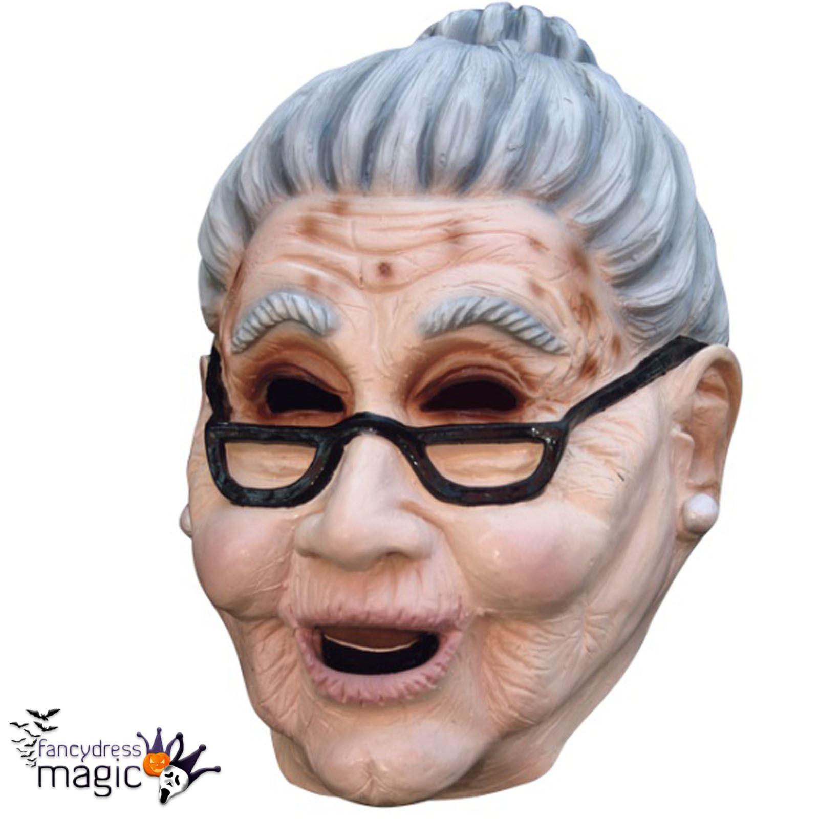 Adult Scary Old Woman Grandma Fancy Dress Full Latex Head ...