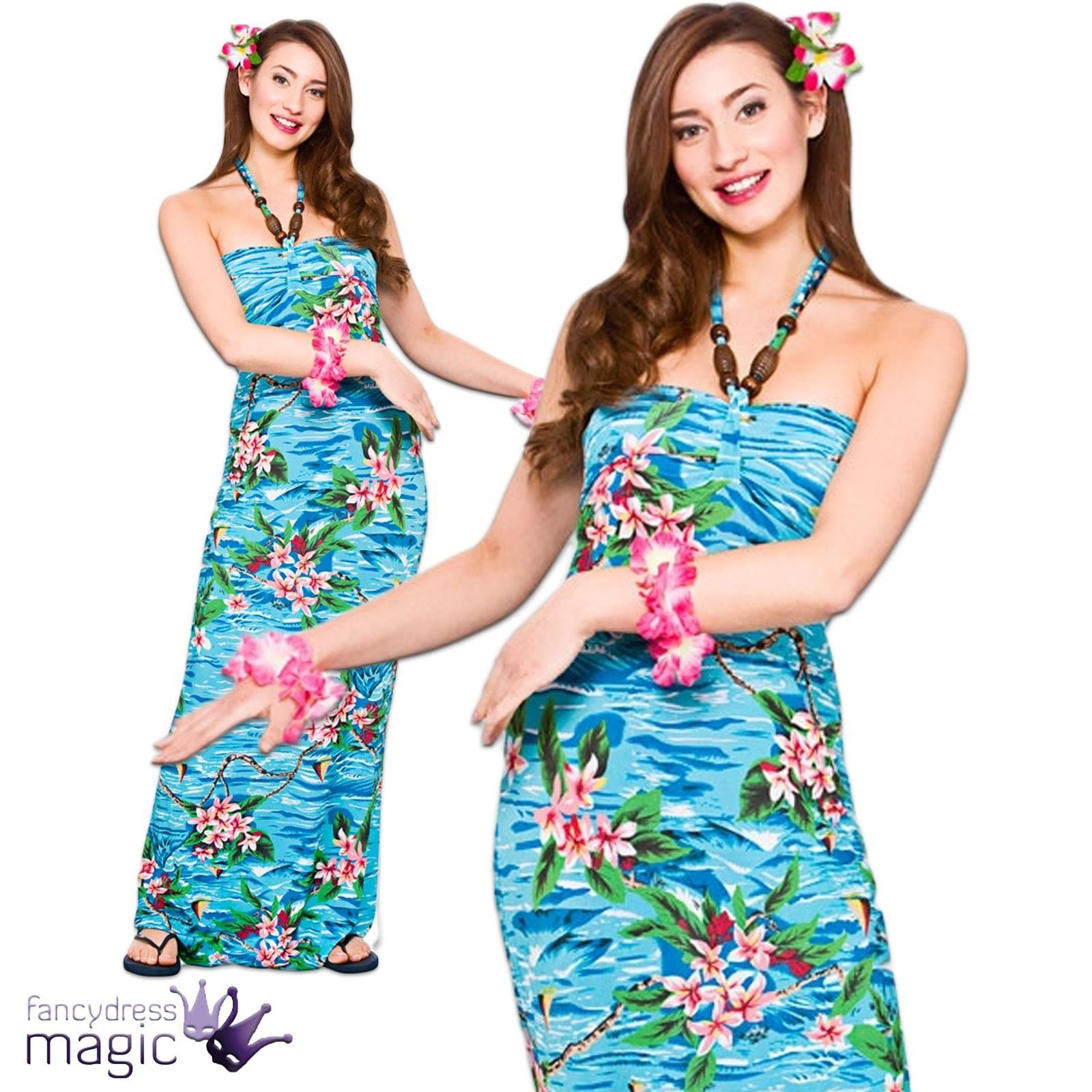 Ladies Hawaiian Maxi Long Fancy Dress Costume Party Beach Luau ...