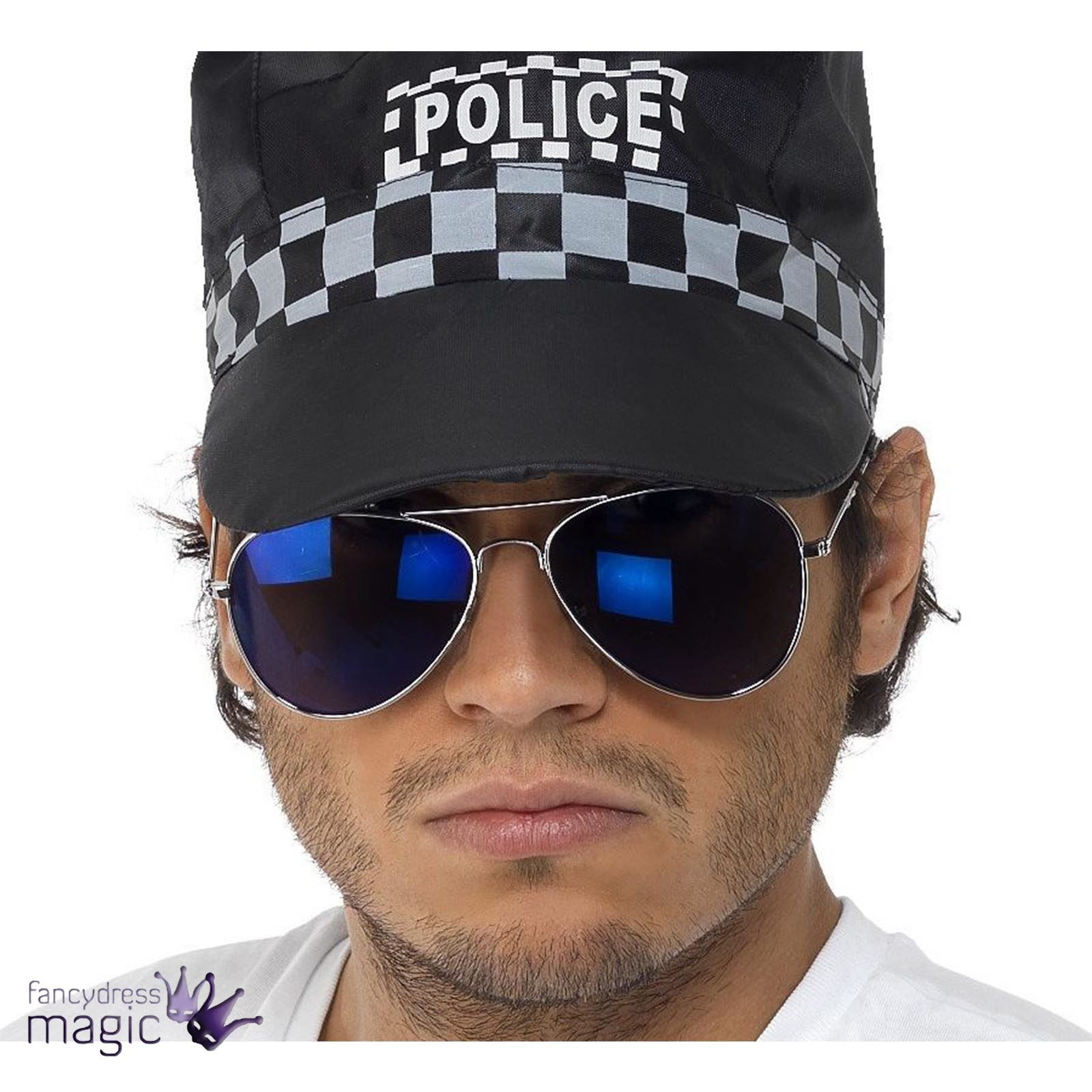 29d885466fc Cop Police CHiPs Biker SWAT Pilot Blue Mirror Aviator Sunglasses Specs  Glasses