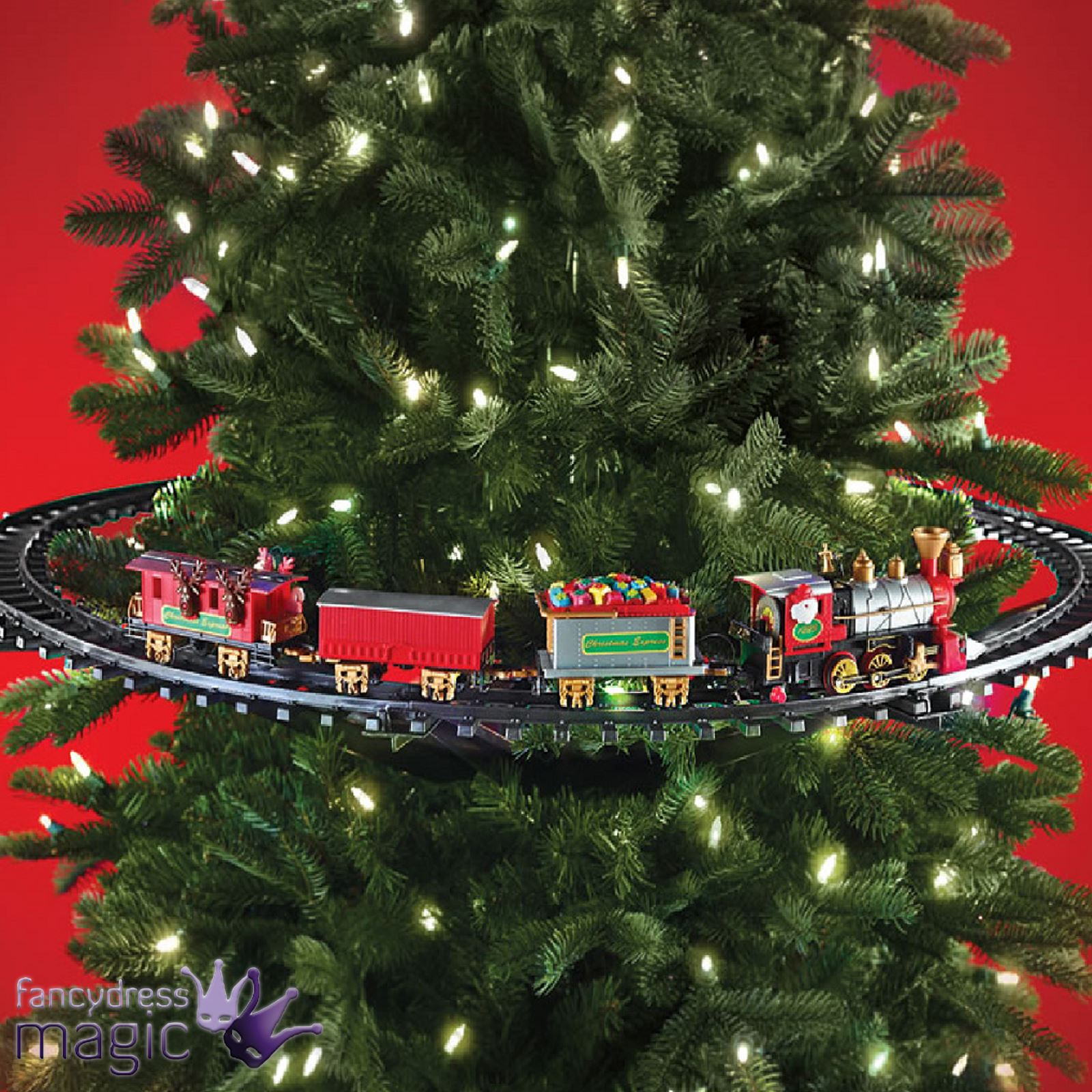 Mounted christmas tree train festive light up sound for Animation decoration noel
