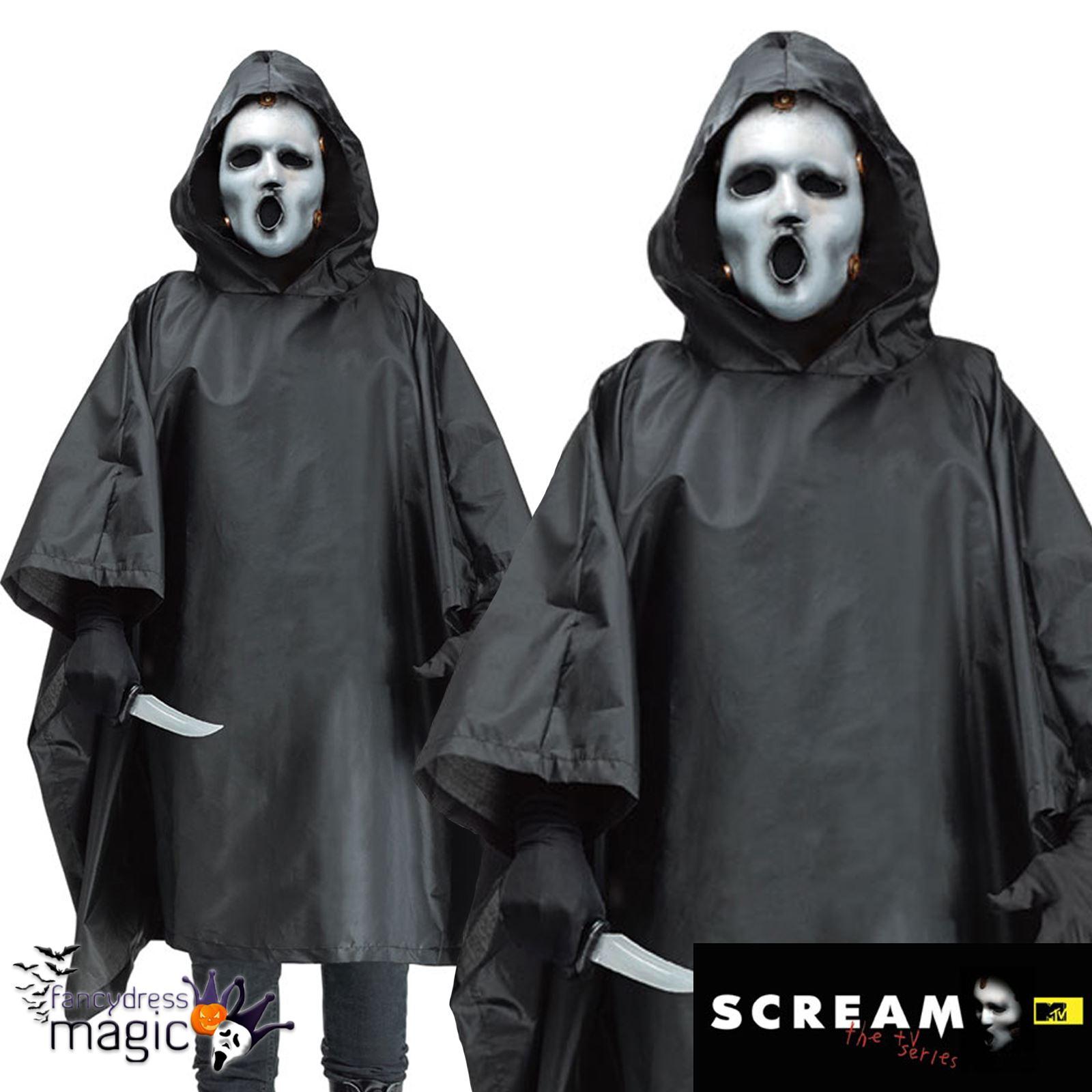 Mens Ghostface Scream TV Series Killer Poncho Halloween Fancy ...