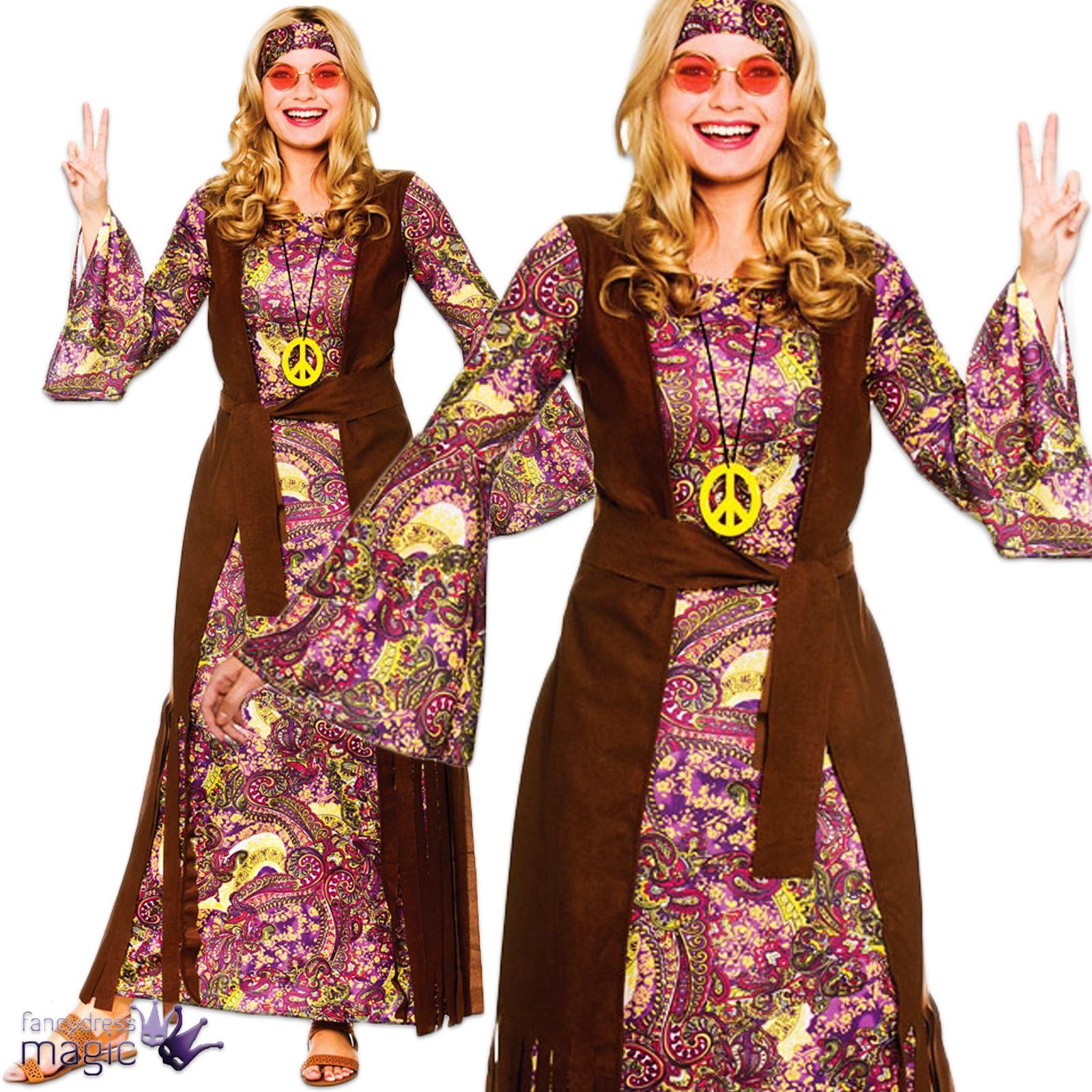 Ladies Adults 1960s 60s Hippy Hippie Maxi Summer Love ...