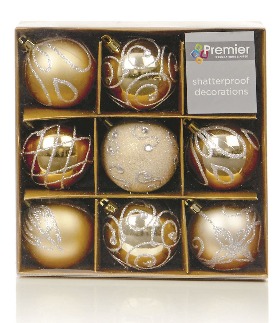 9 x 60mm luxury boxed embossed glitter baubles christmas for Exclusive christmas decorations