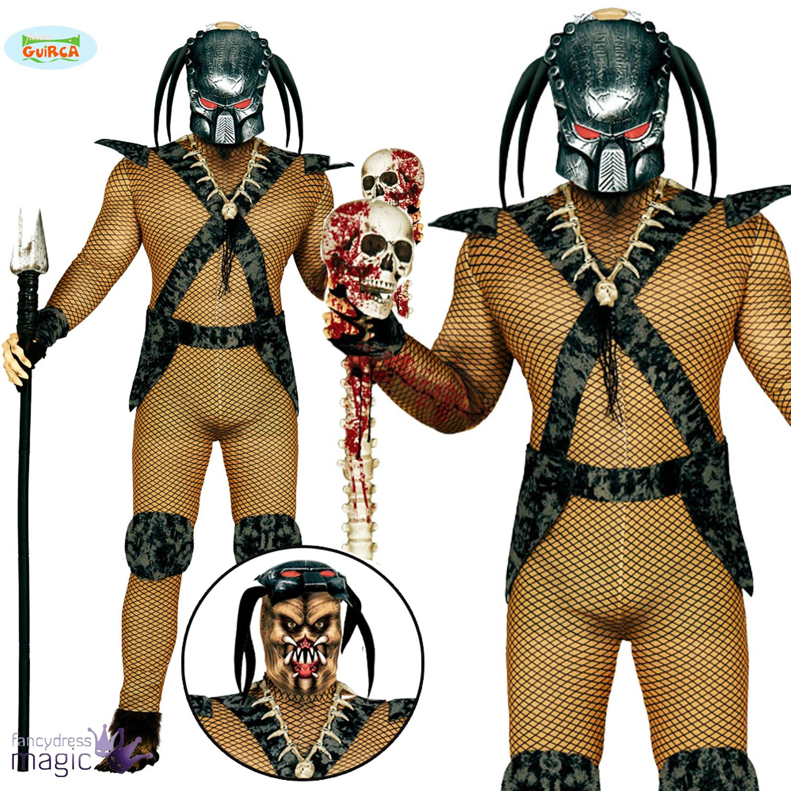 Mens Alien Space Hunter Predator 80s Halloween Film Fancy Dress ...