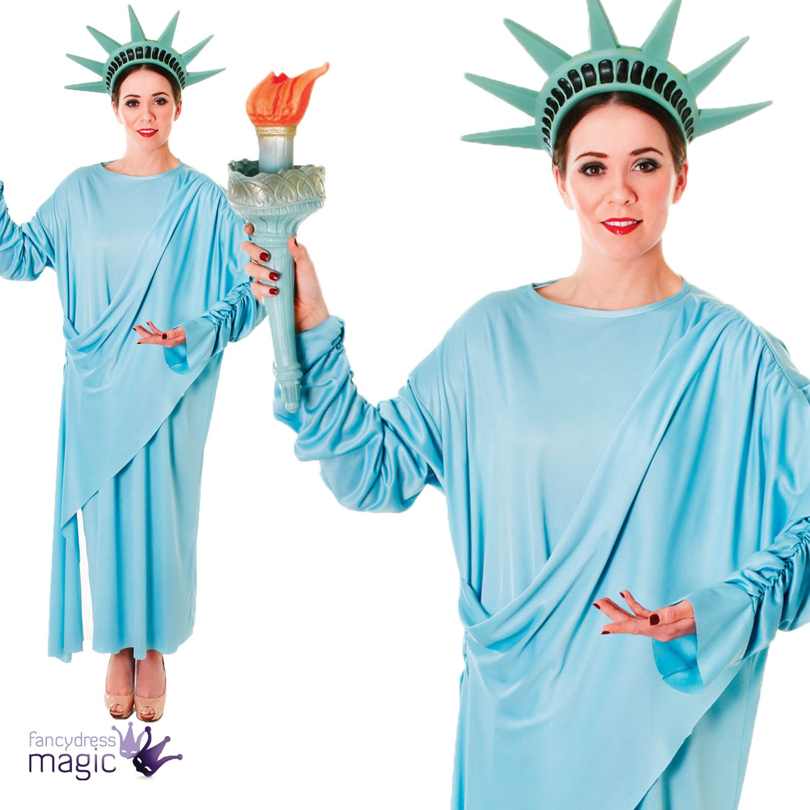 Ladies Adults Statue of Liberty American 4th July USA Fancy Dress Costume Outfit  sc 1 st  eBay & Ladies Adults Statue of Liberty American 4th July USA Fancy Dress ...