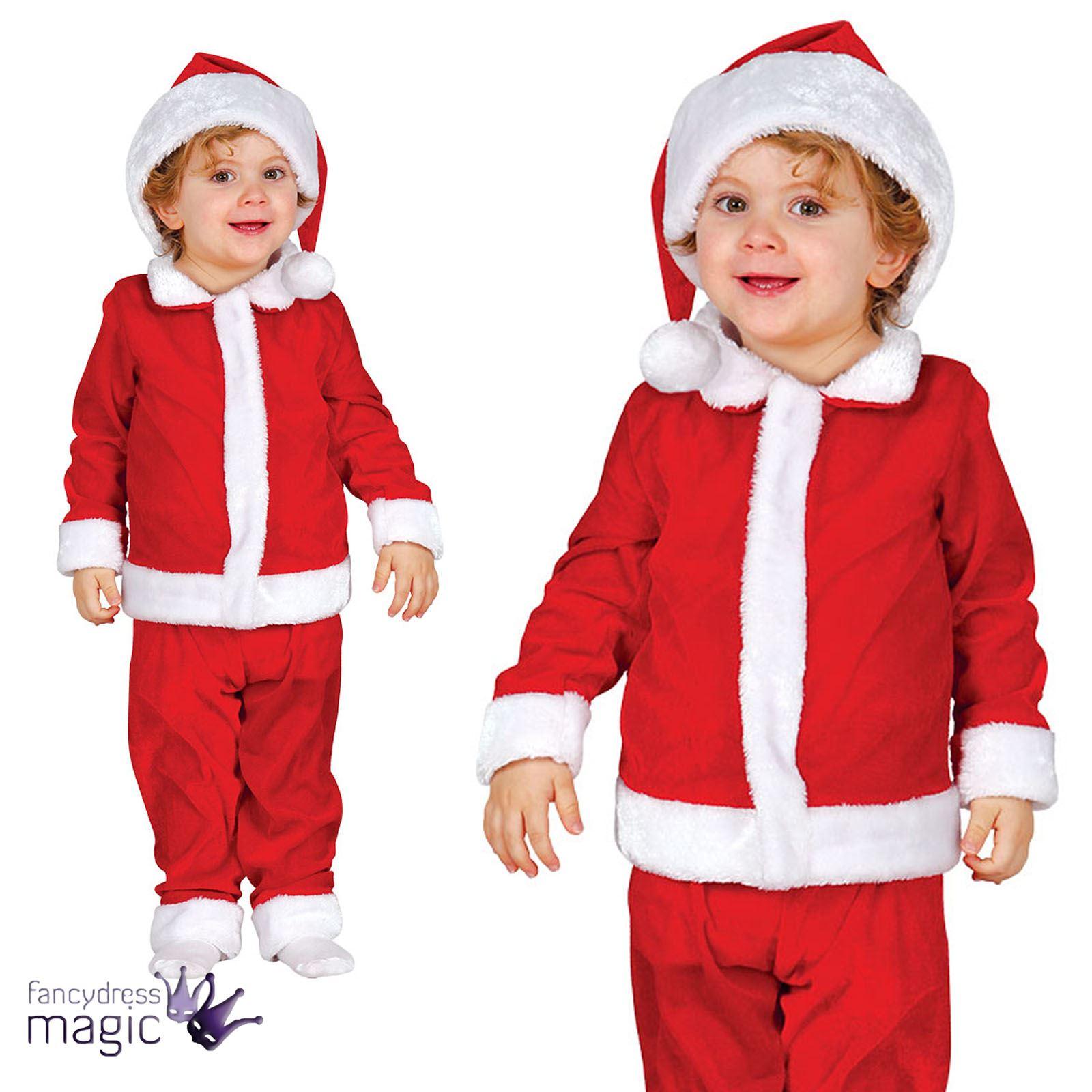 40af7a7ec Baby Toddler Boys Santa Suit Father Christmas Xmas Fancy Dress ...