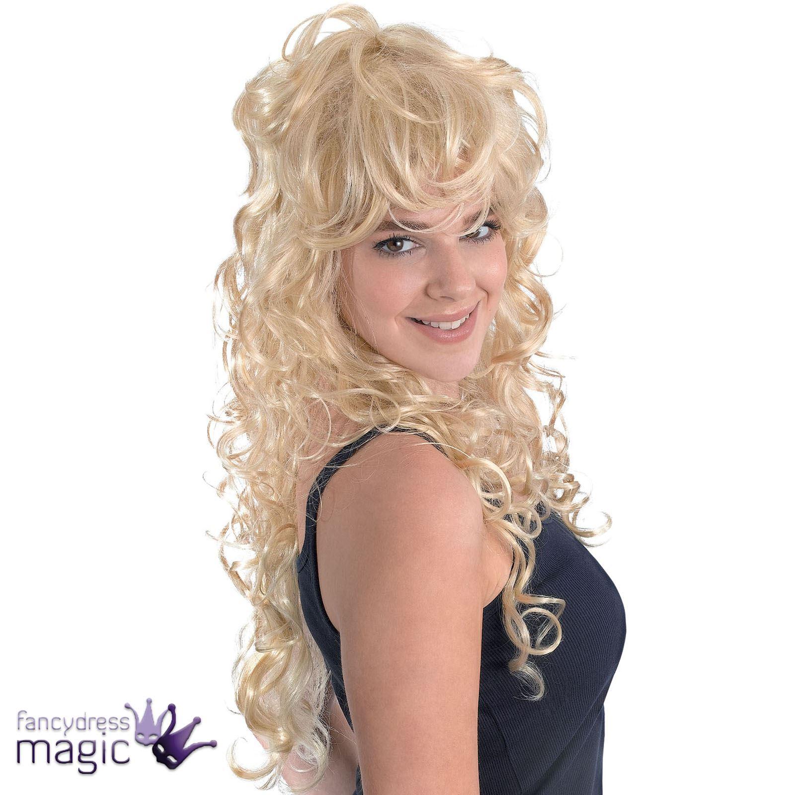 Ladies Long Blonde Curly Punk Rock Chick Dolly Parton Fancy Dress Costume Wig  sc 1 st  eBay & Ladies Long Blonde Curly Punk Rock Chick Dolly Parton Fancy Dress ...