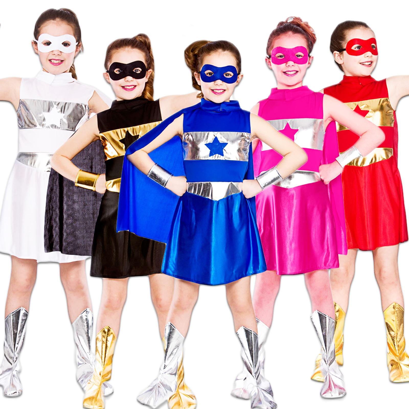 girls superhero super hero cape mask book week comic tv movie fancy