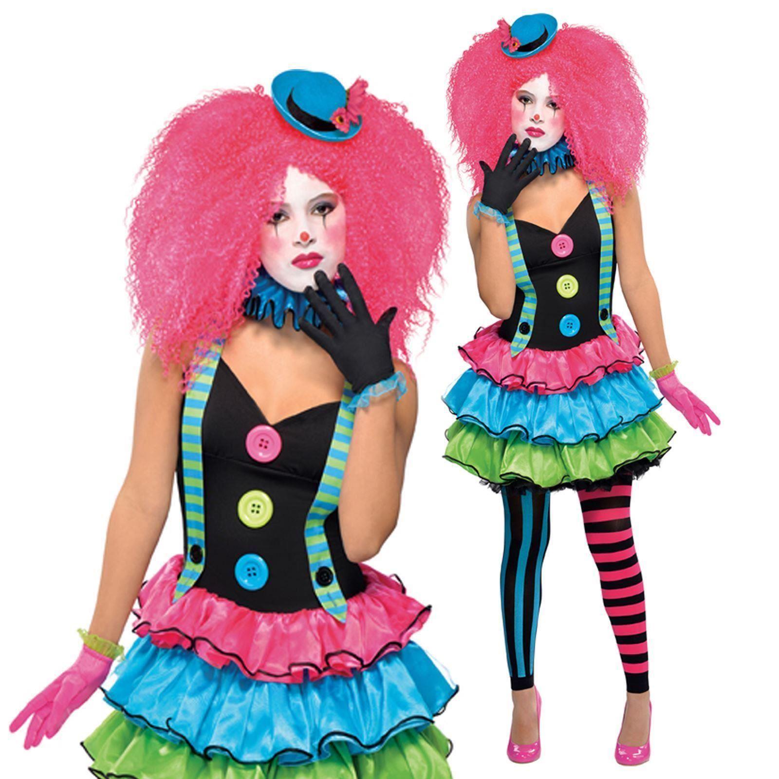girls teen cool clown kool klown neon halloween fancy dress costume