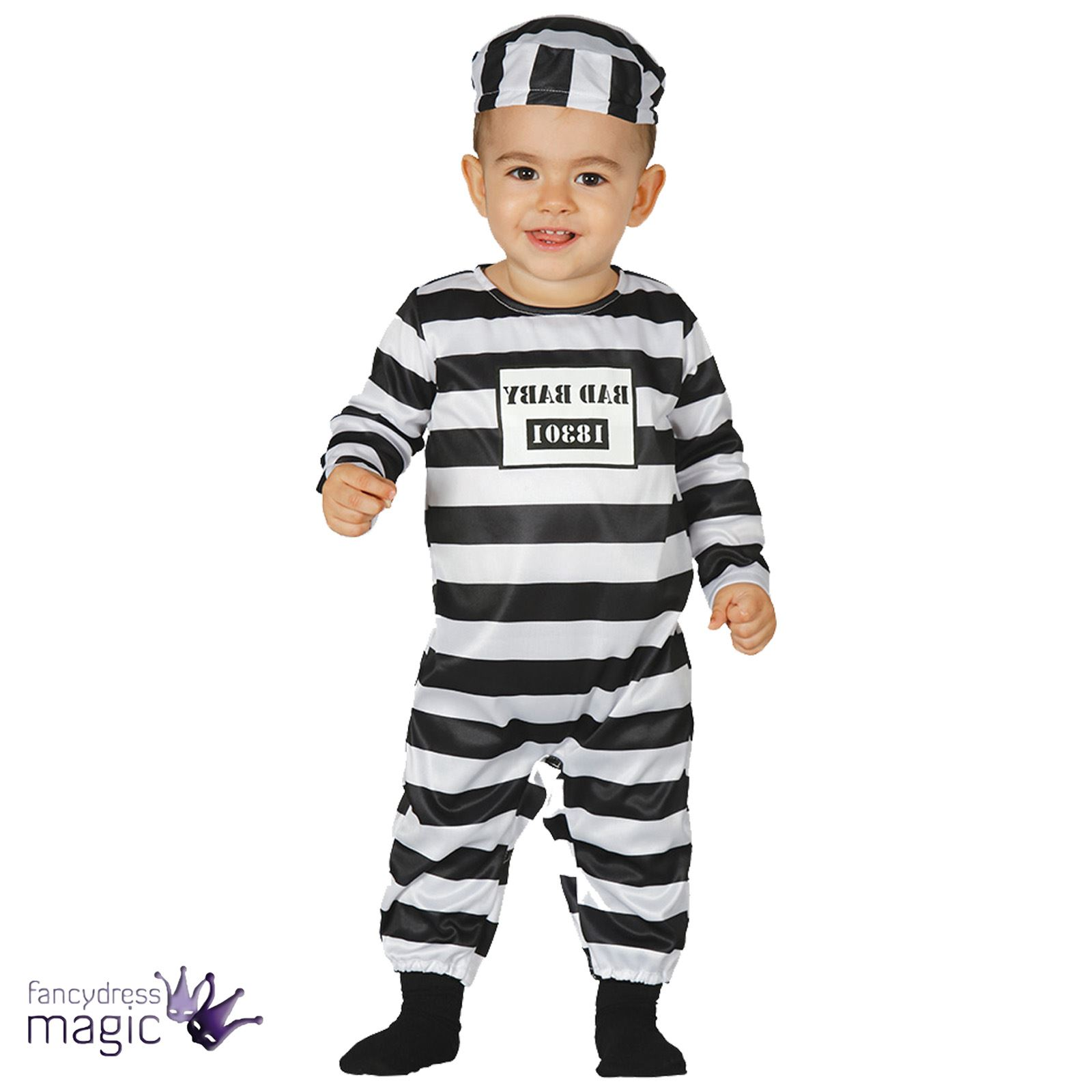 Baby Infant Childs Halloween Prisoner Fancy Dress Costume Outfit Hat