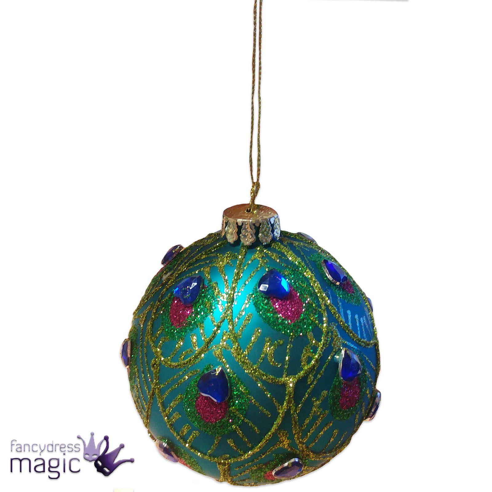 Gisela Graham 8cm Peacock Feather Glass Hanging Christmas