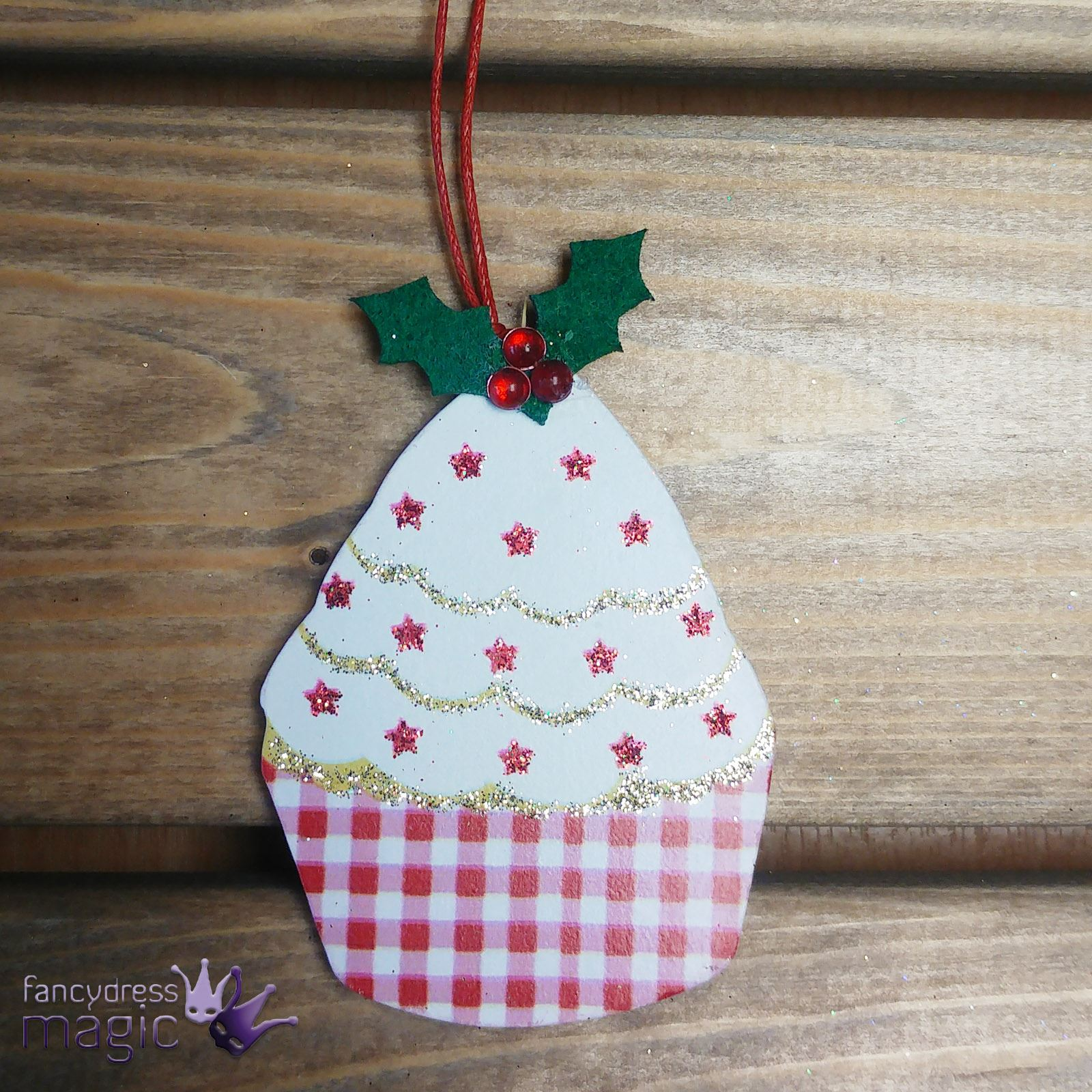 Gisela-Graham-Wooden-Cake-Bake-Glitter-Hanging-Christmas-Xmas-Tree-Decoration