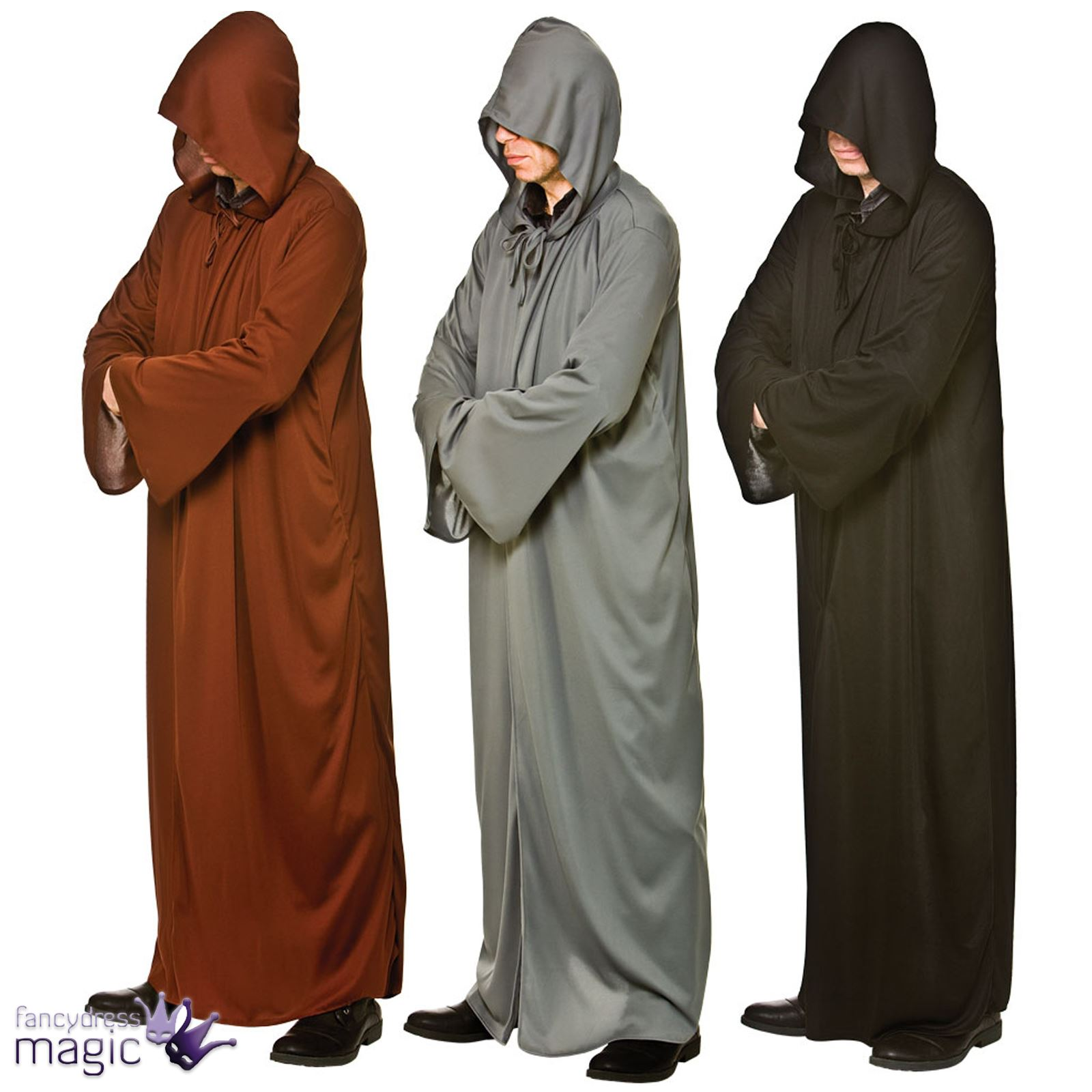 adults mens long floor length hooded robe reaper halloween fancy dress outfit ebay. Black Bedroom Furniture Sets. Home Design Ideas
