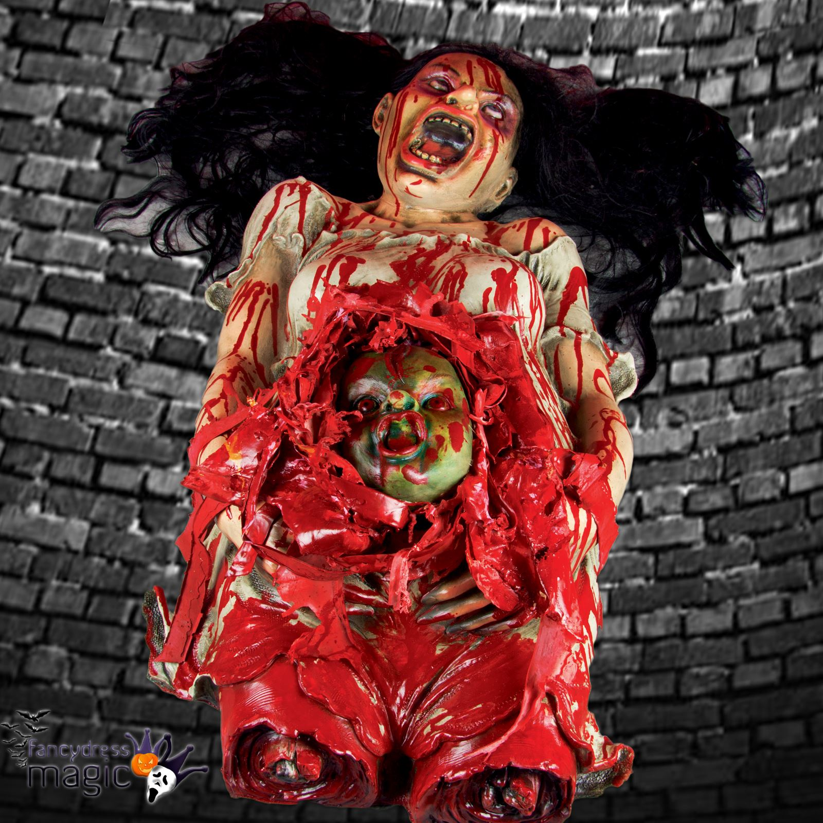 Halloween Gory Horror Pregnant Woman Corpse Zombie Baby Floor Decoration Prop BN & Halloween Gory Horror Pregnant Woman Corpse Zombie Baby Floor ...